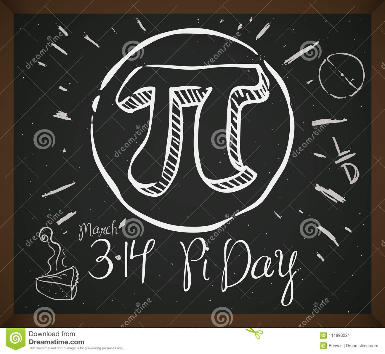 Doodle Drawing With Symbol Pie And Date For Pi Day Vector