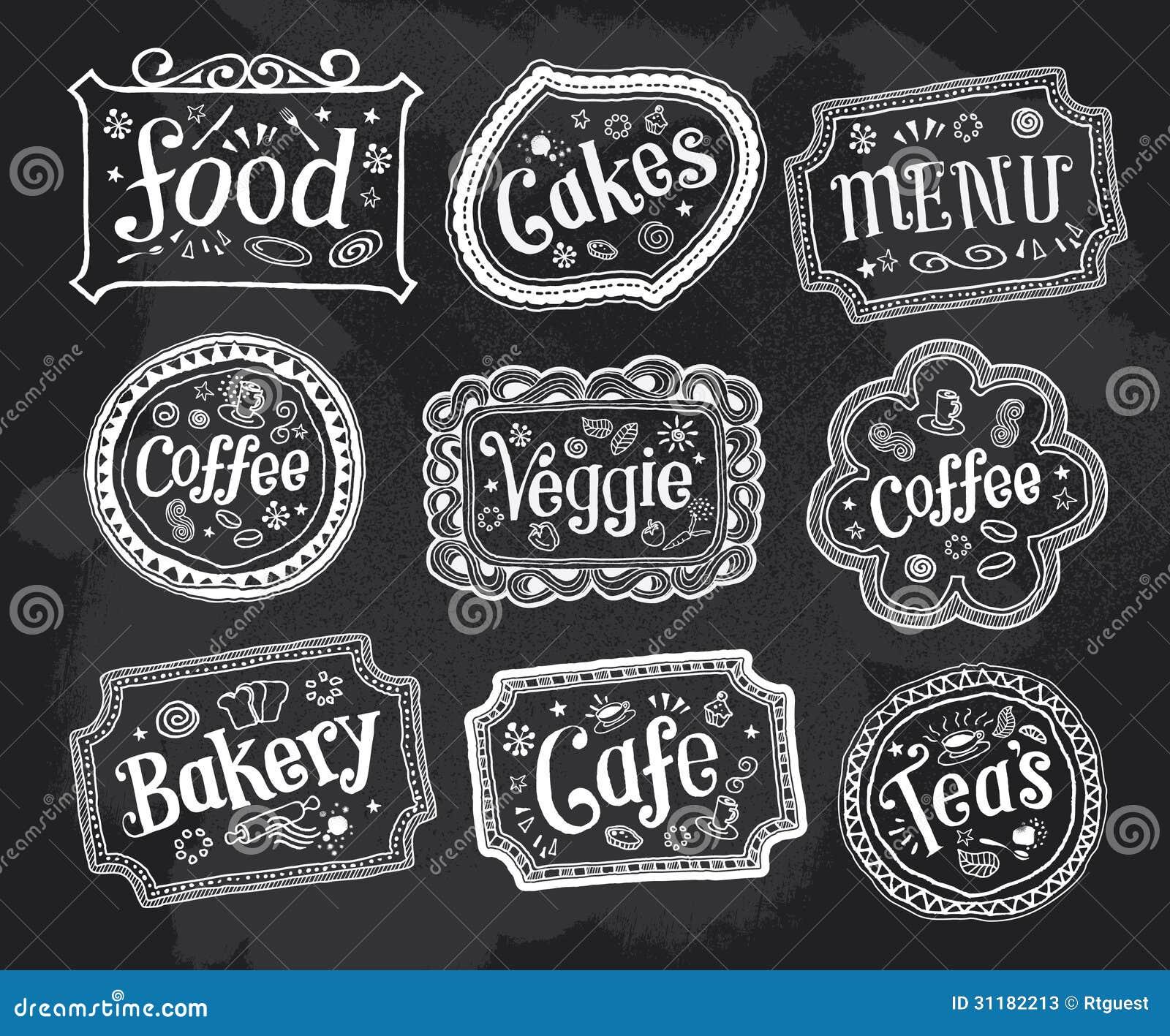 Blackboard, Frame, Signs, Hand Drawn Doodles Stock Photos