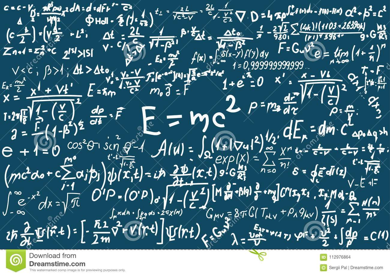 Blackboard inscribed with scientific formulas and calculations in physics and mathematics. Can illustrate scientific