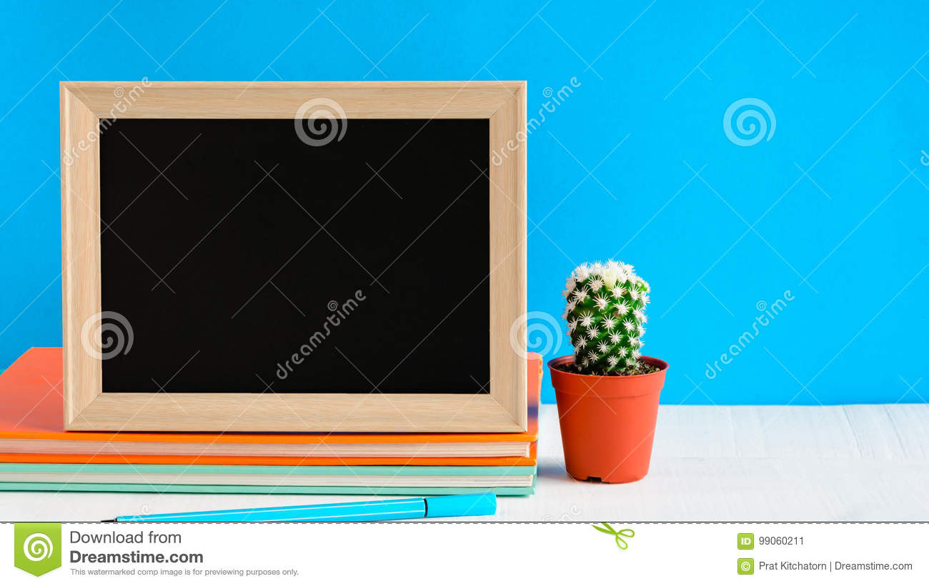 Blackboard With Mock Up Frame And Book Pencil On The Wood Table ...