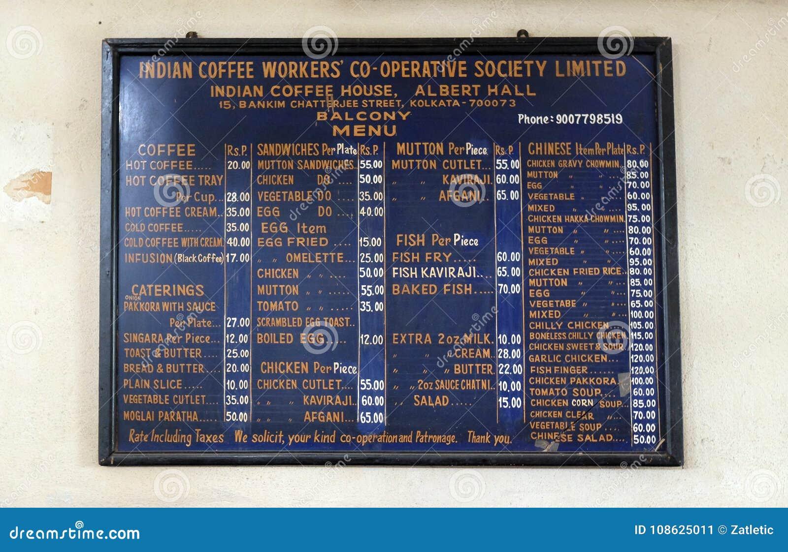 Blackboard With Offerings In Indian Coffee House In ...