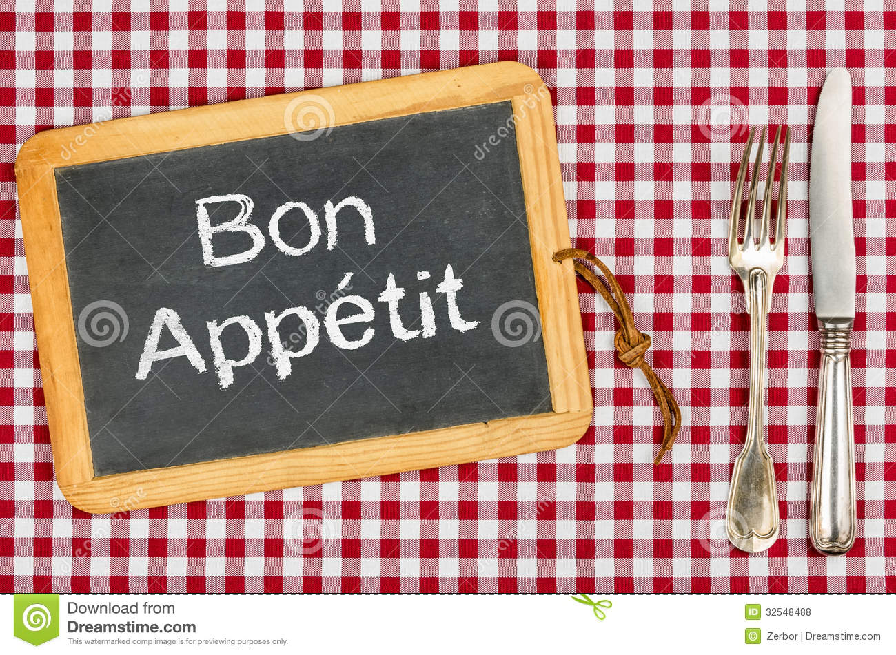 Blackboard With The Text Bon Appetit Stock Photo Image
