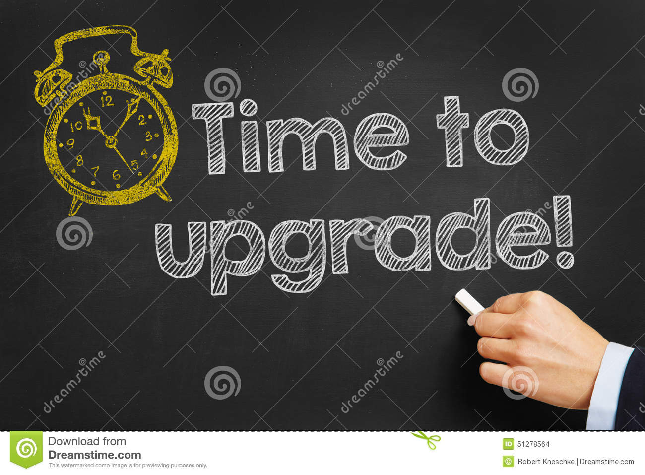 blackboard with time to upgrade stock photo image of blackboard