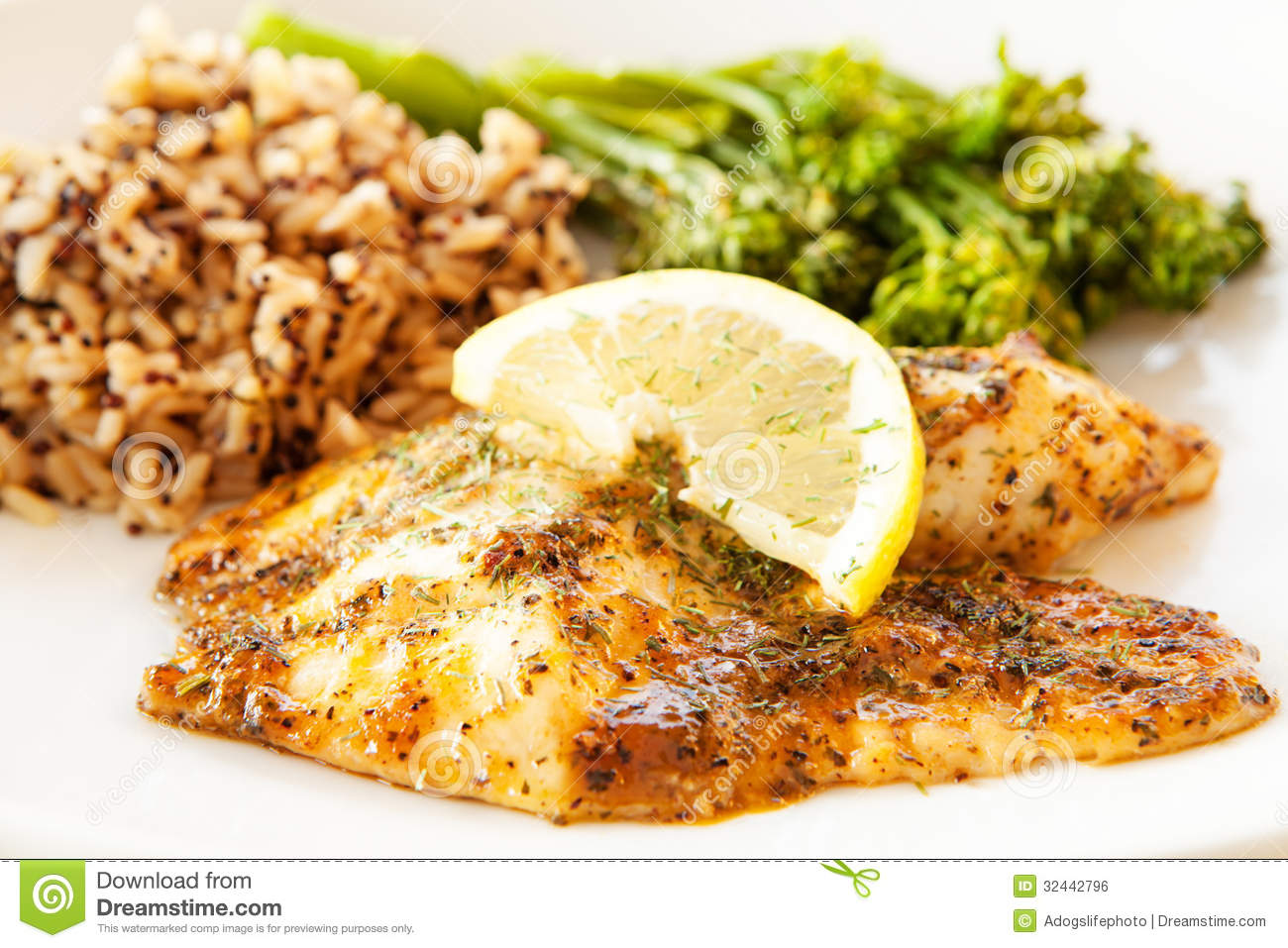 Blackened tilapia with wild rice and broccoli stock photo for Fish and broccoli diet