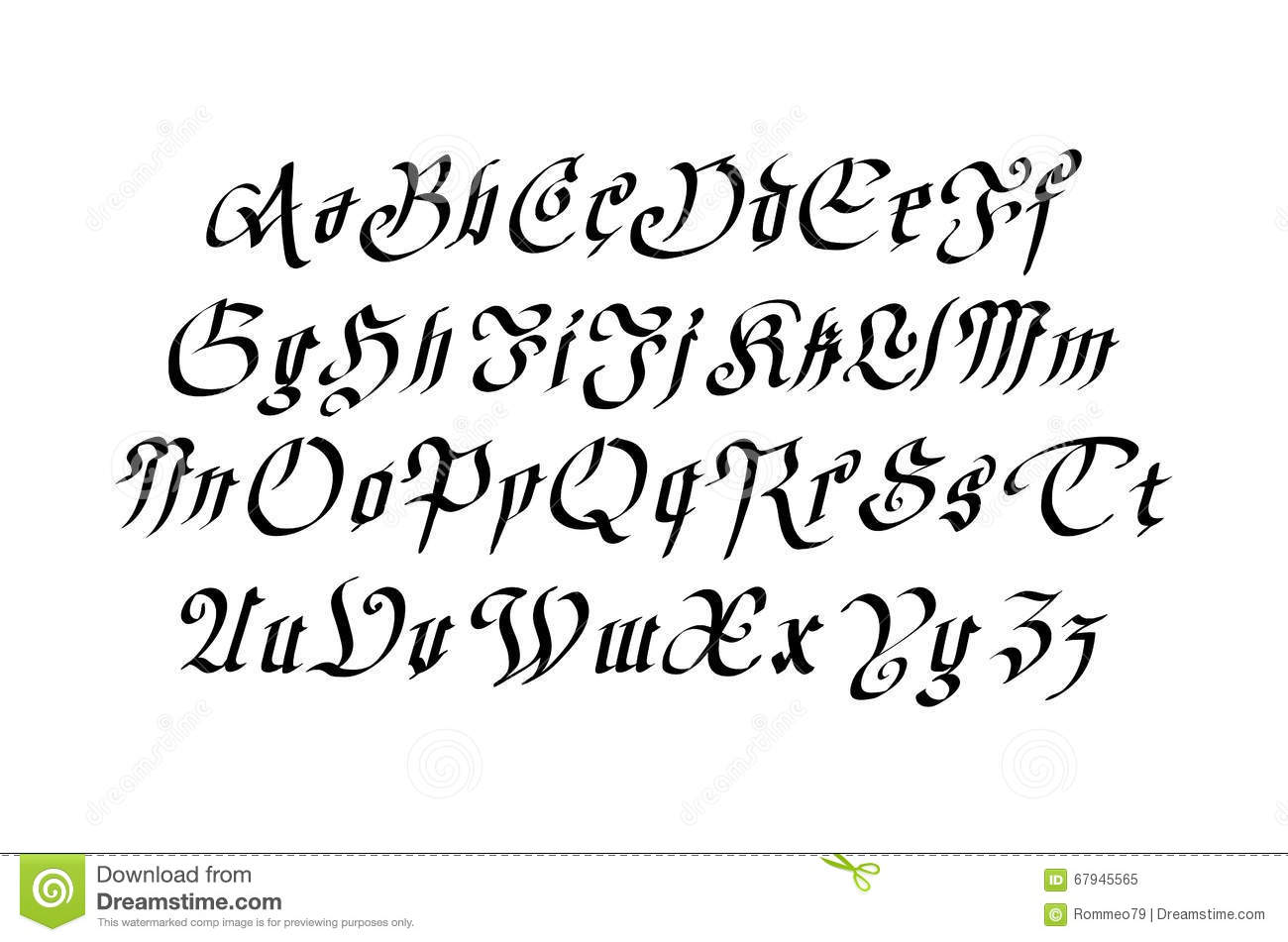 Blackletter Gothic Script Hand Drawn Font Royalty Free Stock Photo