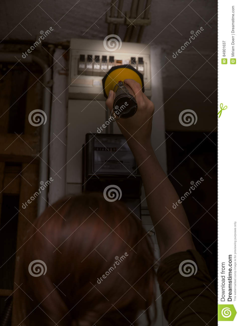 Blackout, Electricity Cut, Woman With Flashlight Checking