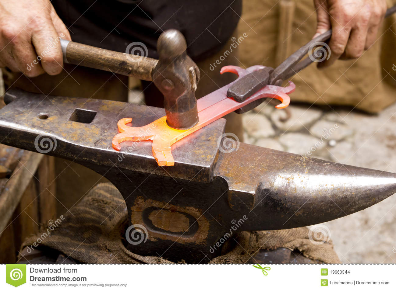 Blacksmith Forged Iron Smith Anvil Hammerman Stock Images