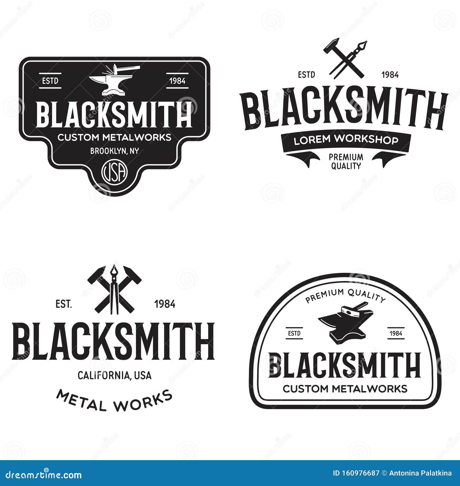 Blacksmith Vintage Emblems:  Blacksmith Labels Set. Design Elements For Metalworks