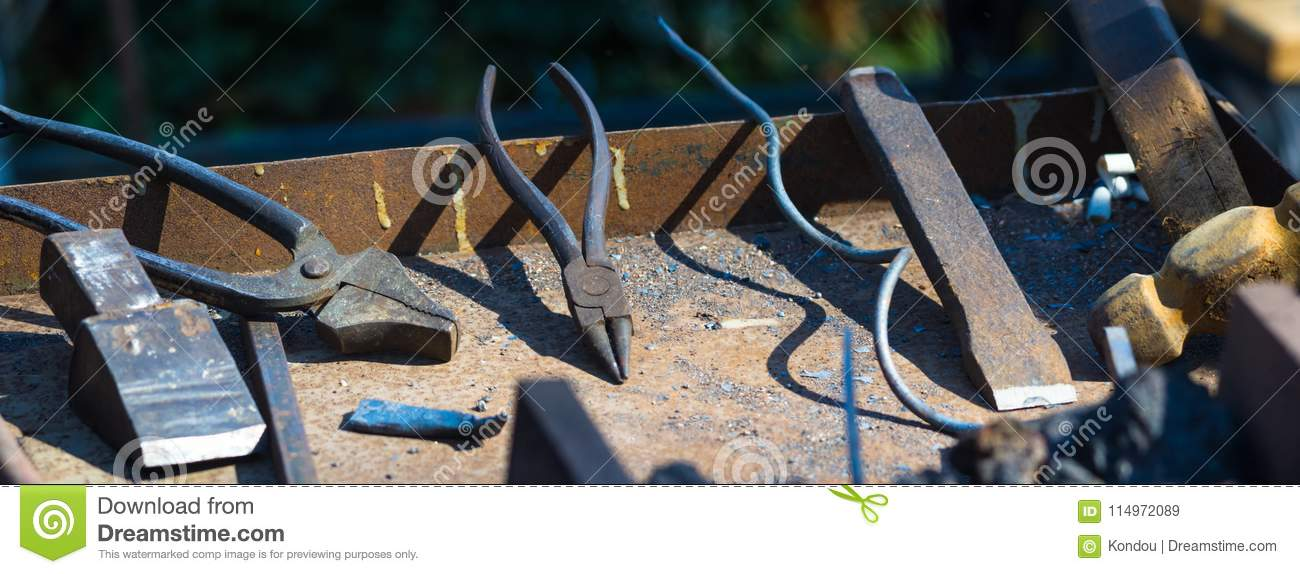 Blacksmith Tools And Fixtures For Hand Forged Metal Stock Image