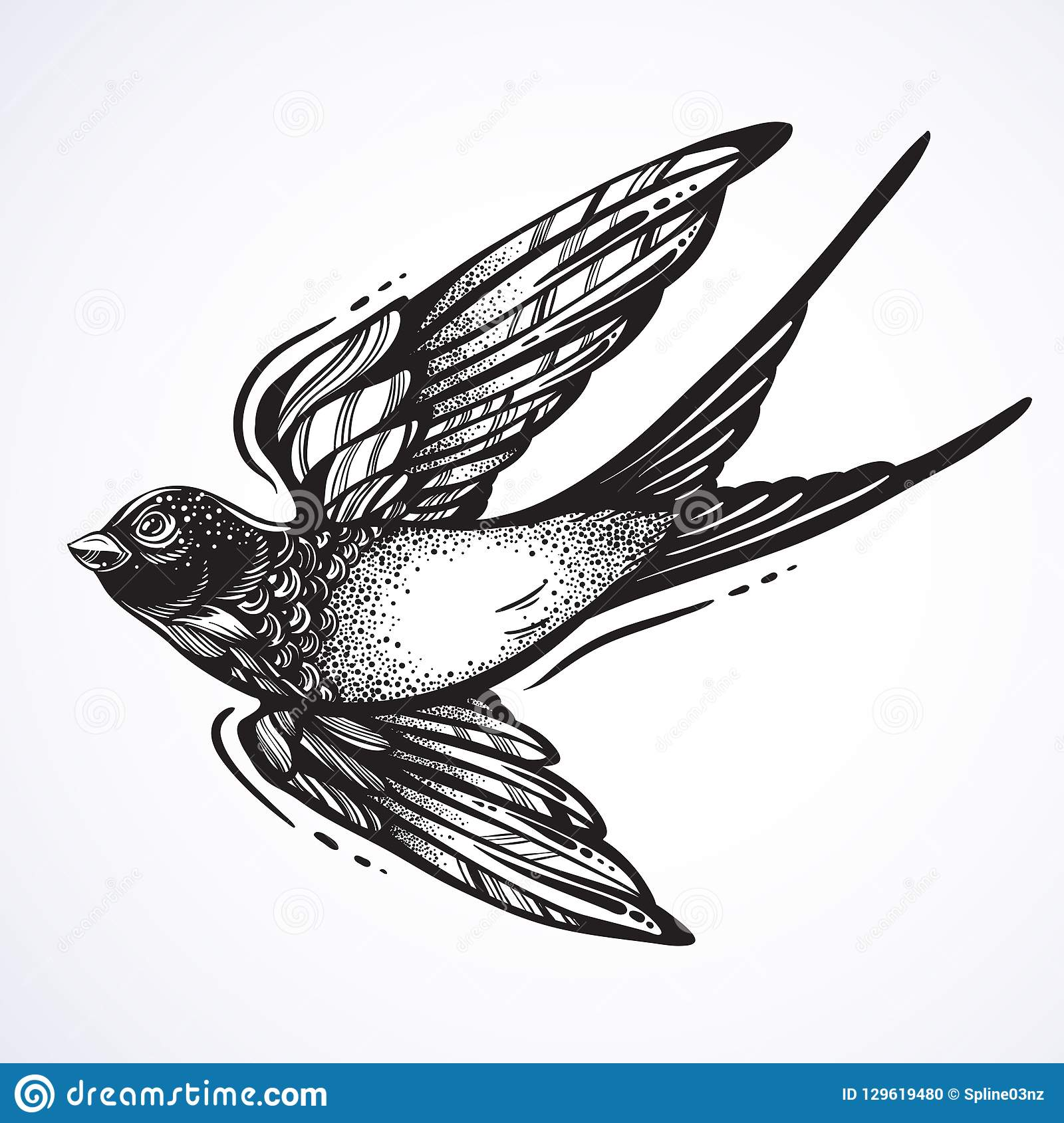 Birds Tattoos Illustrations: Blackwork Tattoo Flash. Beautifully Detailed Flying