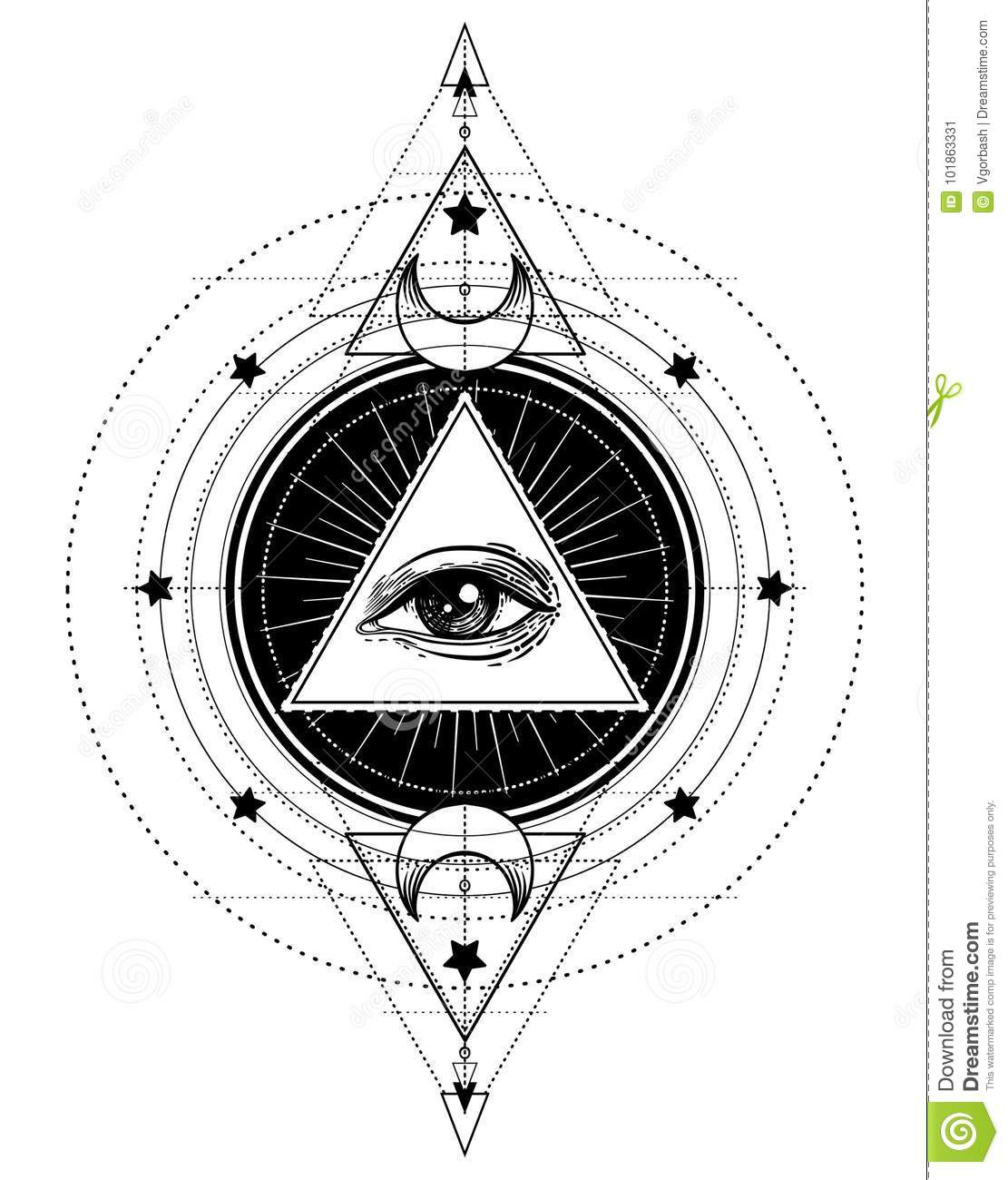 Blackwork Tattoo Flash Eye Of Providence Masonic Symbol All S