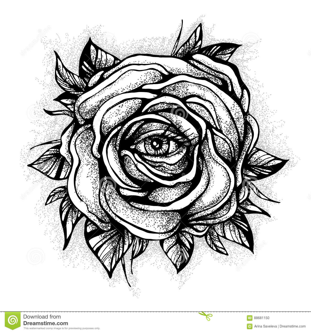 Blackwork Tattoo Flash Rose Flower Highly Detailed Vector