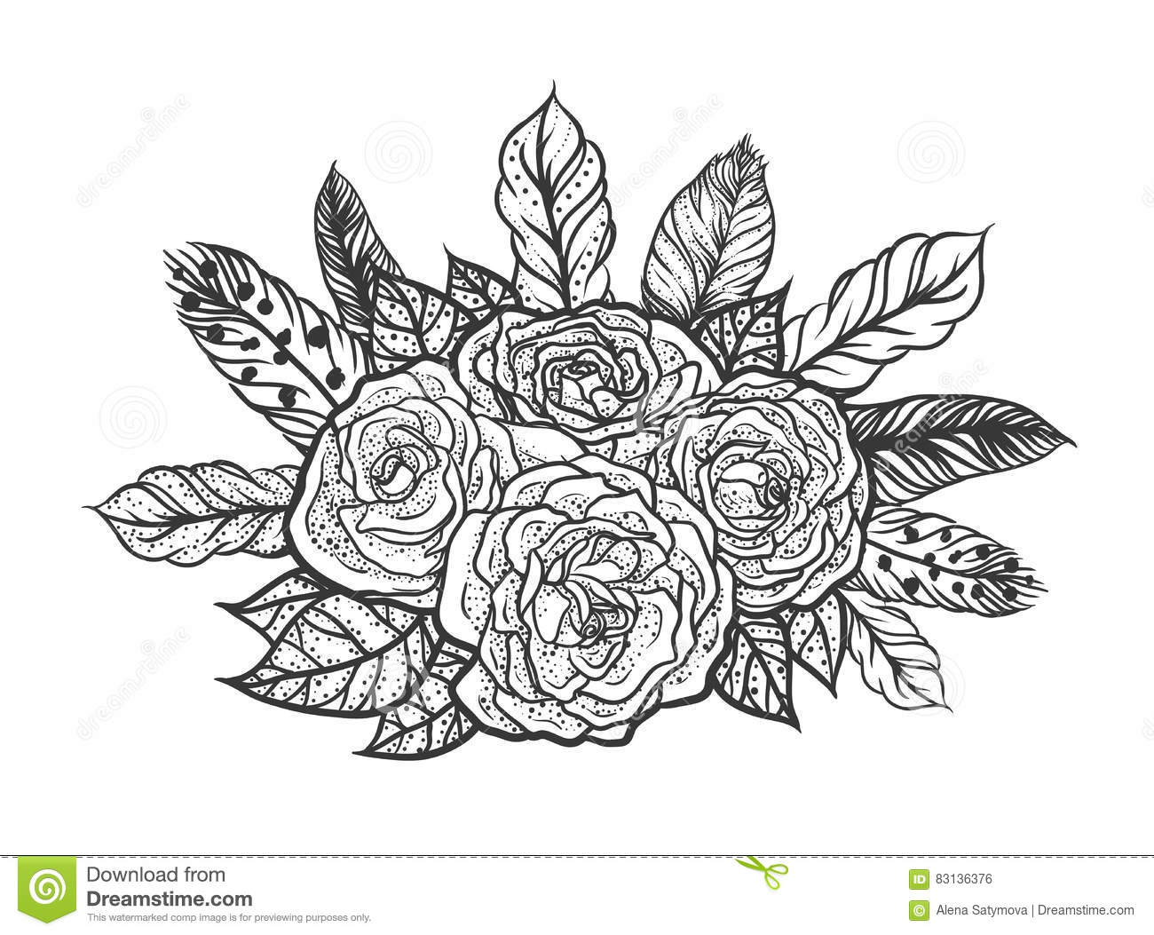 Blackwork tattoo of rose and feathers bouquet vector for Bouquet de lys