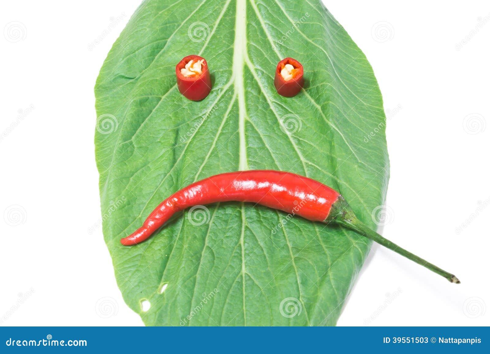 Blad och chili, bister uppsyn