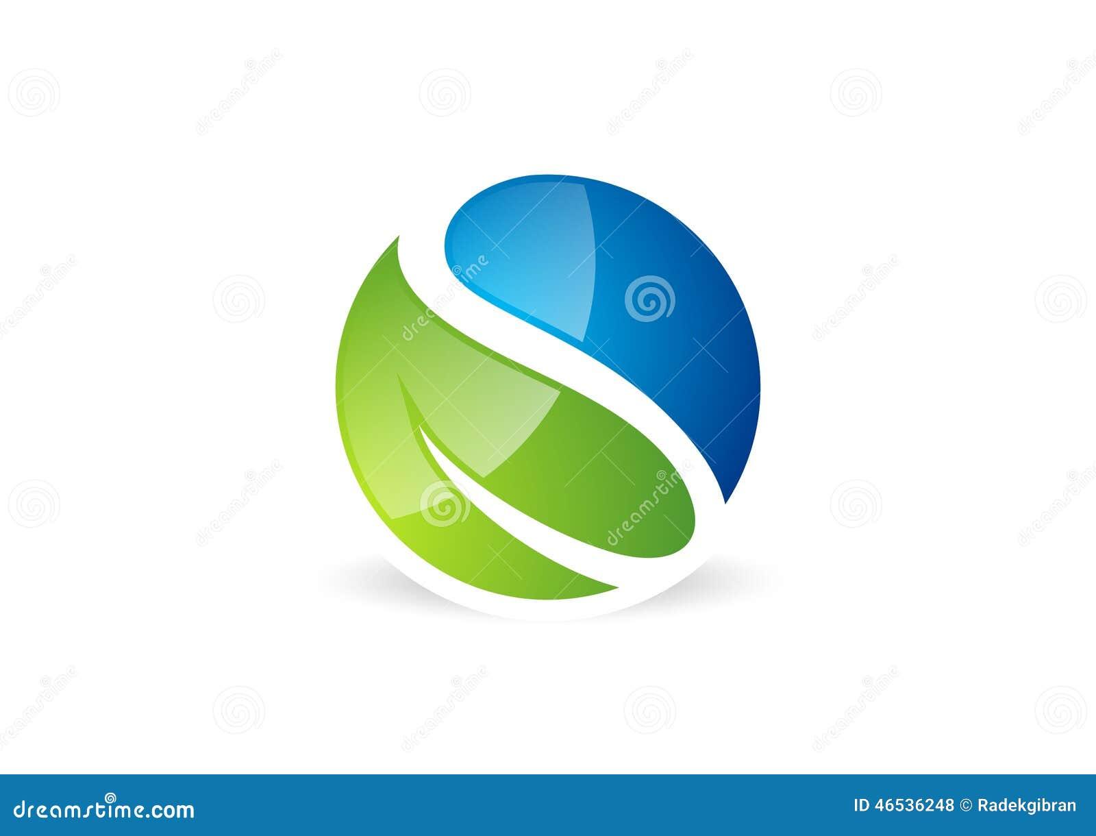 Blad, waterdrop, embleem, cirkel, installatie, de lente, het symbool van het aardlandschap, mondiaal karakter, brievens pictogram