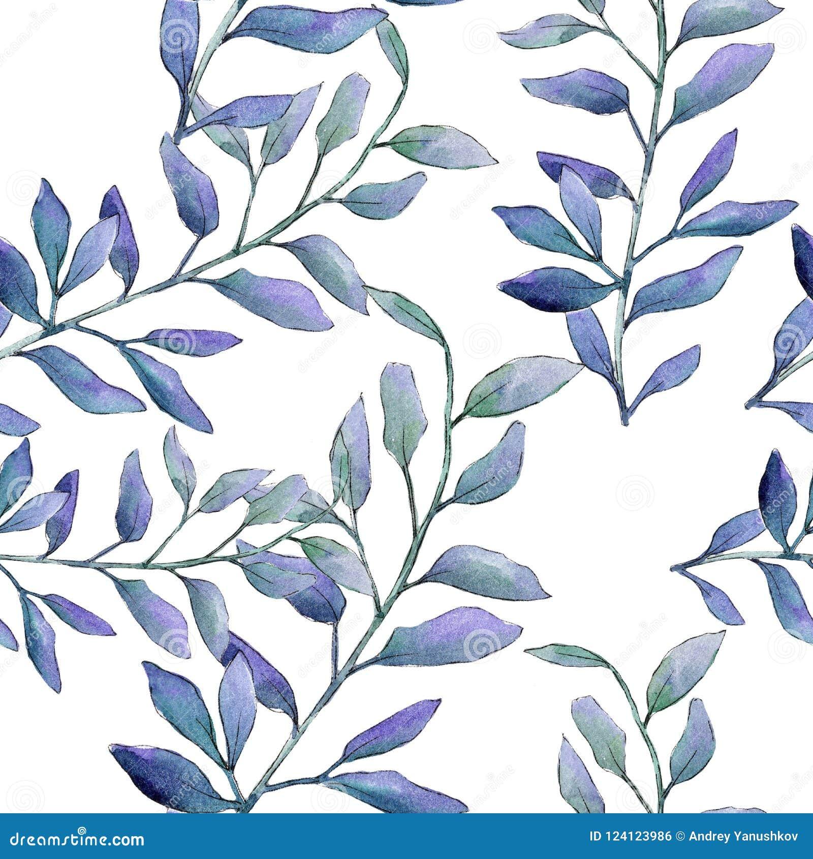 Bladeren van het waterverf de groene bukshout Botanisch de tuin bloemengebladerte van de bladinstallatie Naadloos patroon als ach