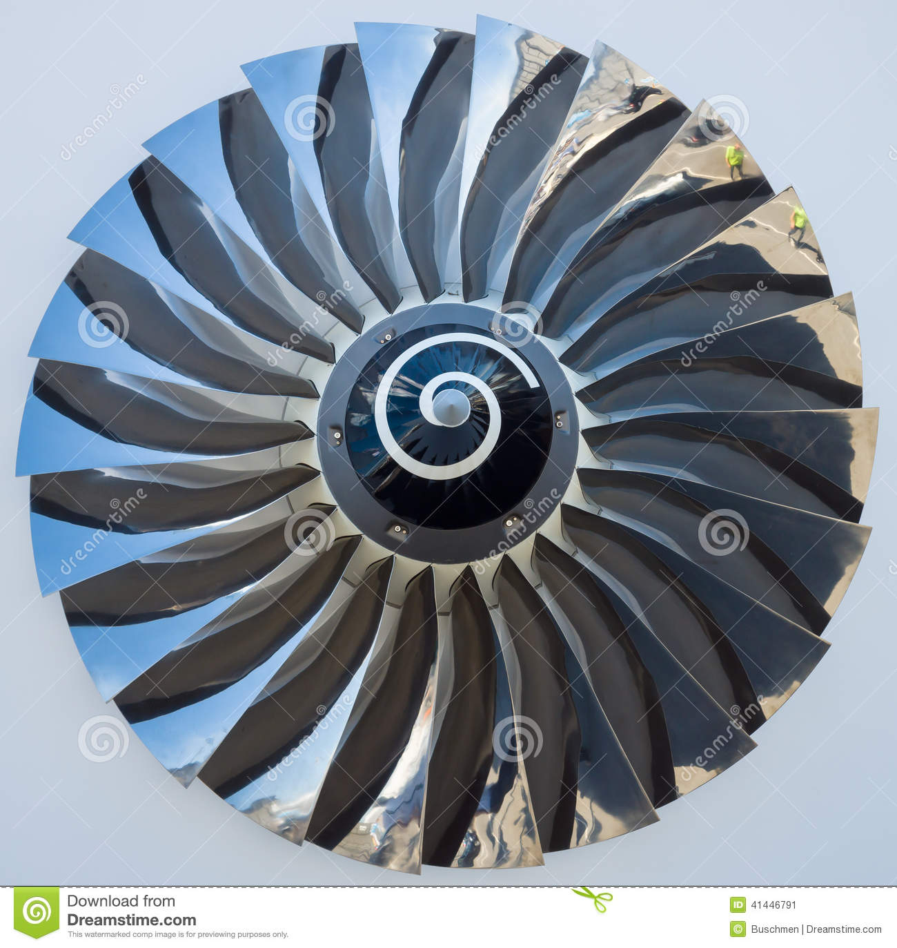 Jet Engine Fan Blades : The blades of a turbofan jet engine stock image