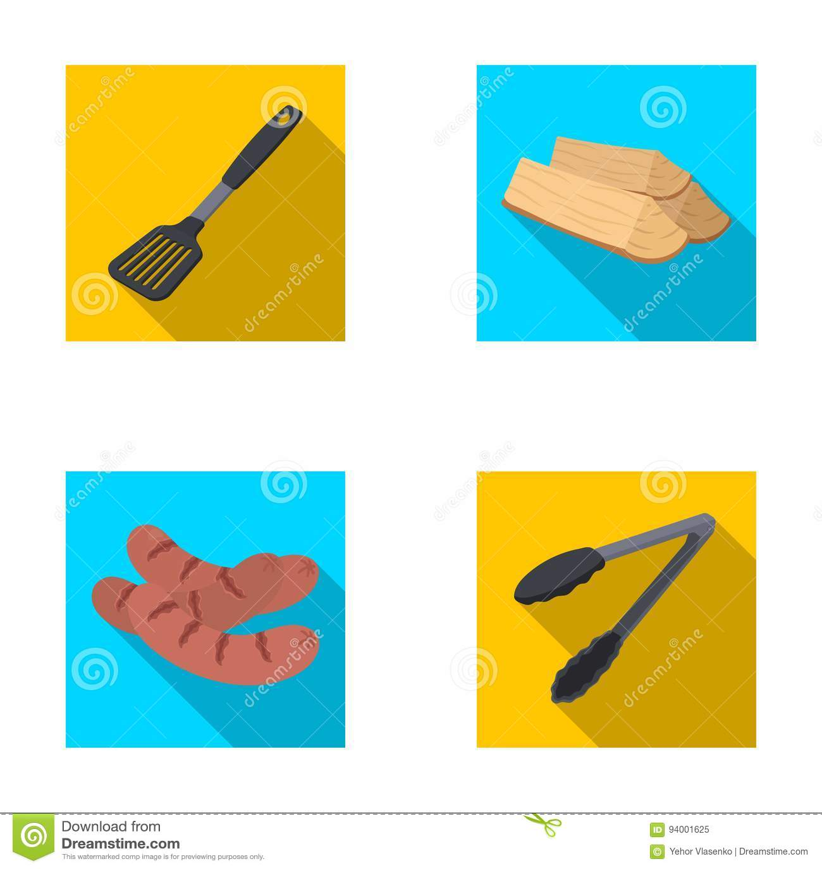 Bladkök, vedträ, korvar och annan för grillfest BBQ ställde in samlingssymboler i plant materiel för stilvektorsymbol