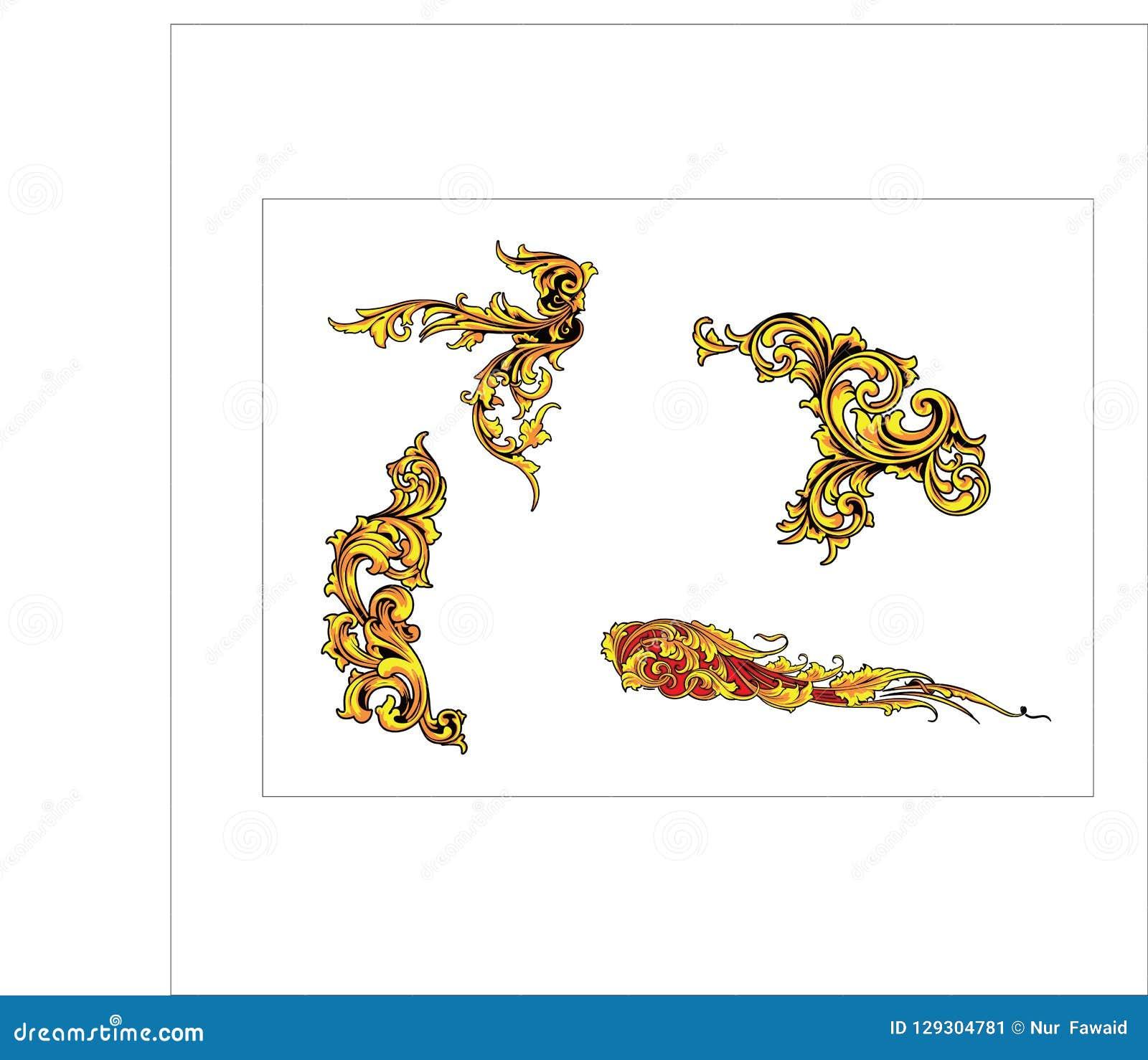 Bladsnirkeln för den blom- prydnaden inristade retro dekorativ design för blommamodell