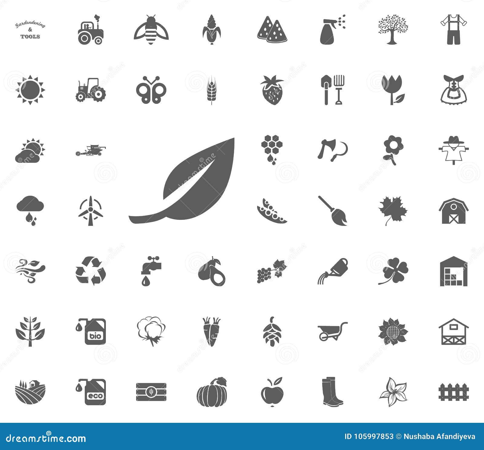 Bladsymbol Arbeta i trädgården och uppsättning för hjälpmedelvektorsymboler