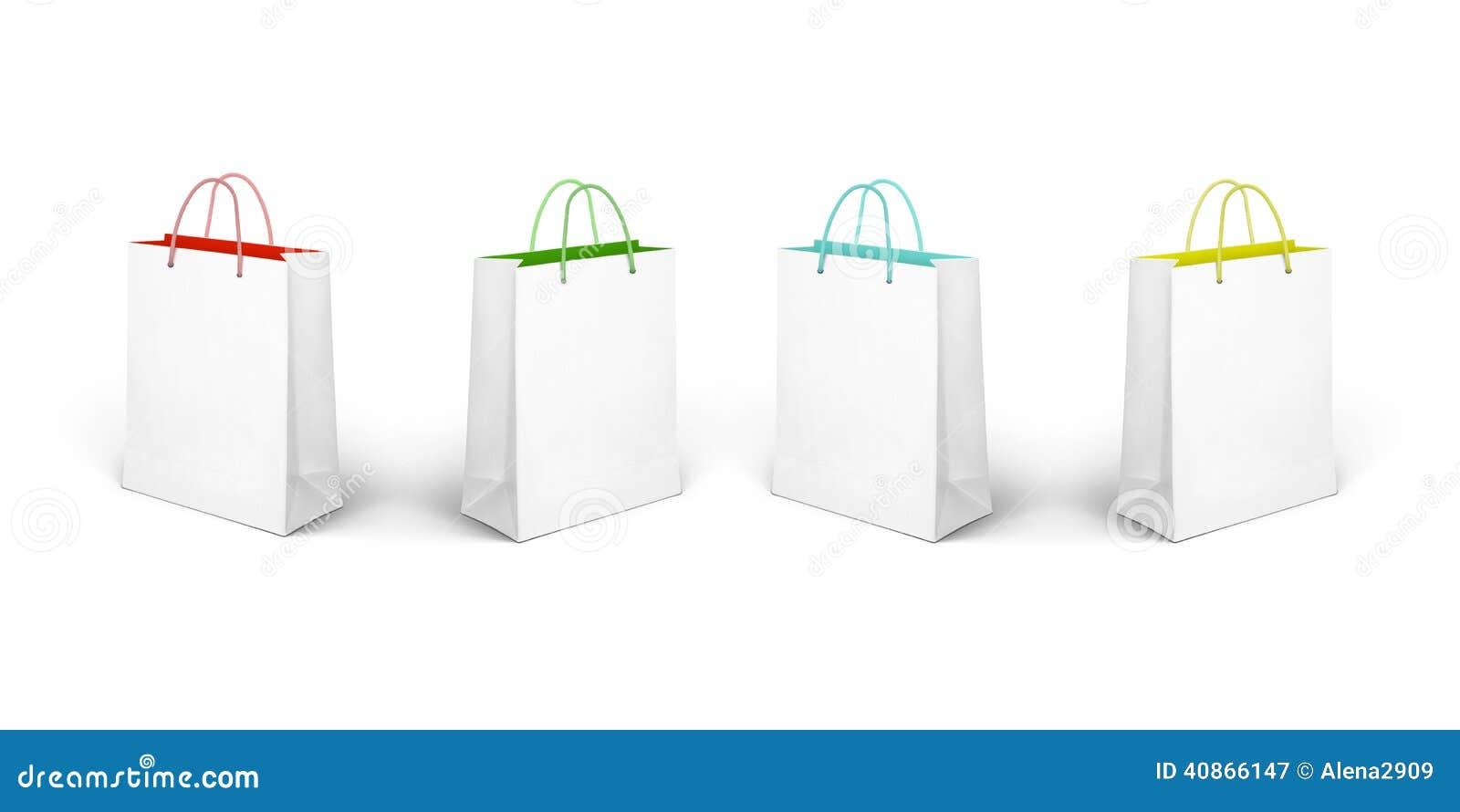 Blanc d achats de vente de papier d oncept d isolement par sac