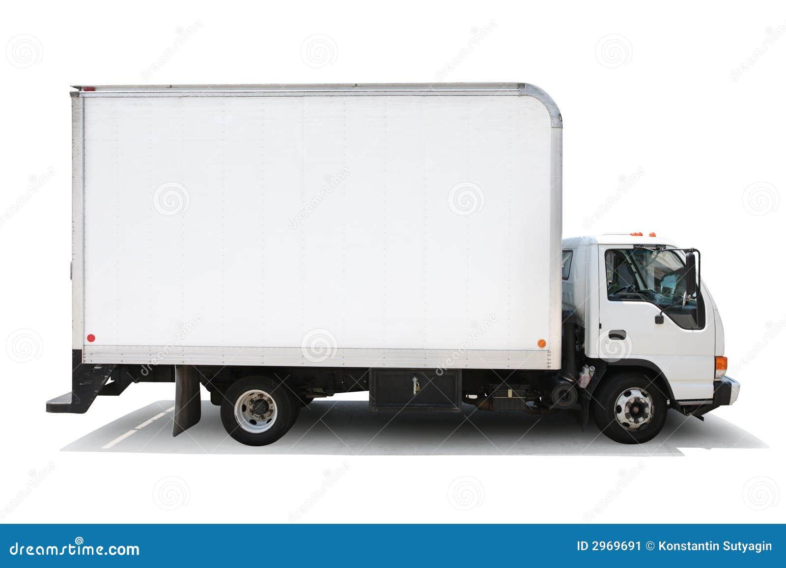 Blanc d isolement de camion de distribution