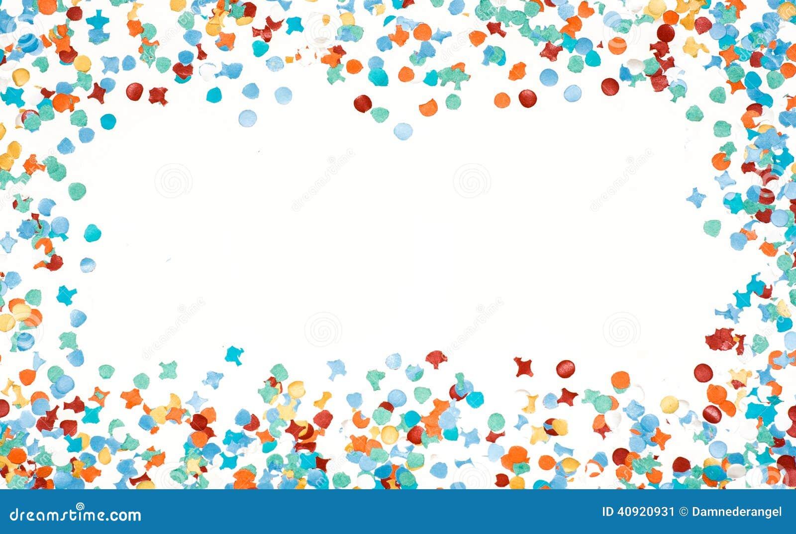 Blanc D'isolement Par Confettis Colorés De Cadre De Partie ...