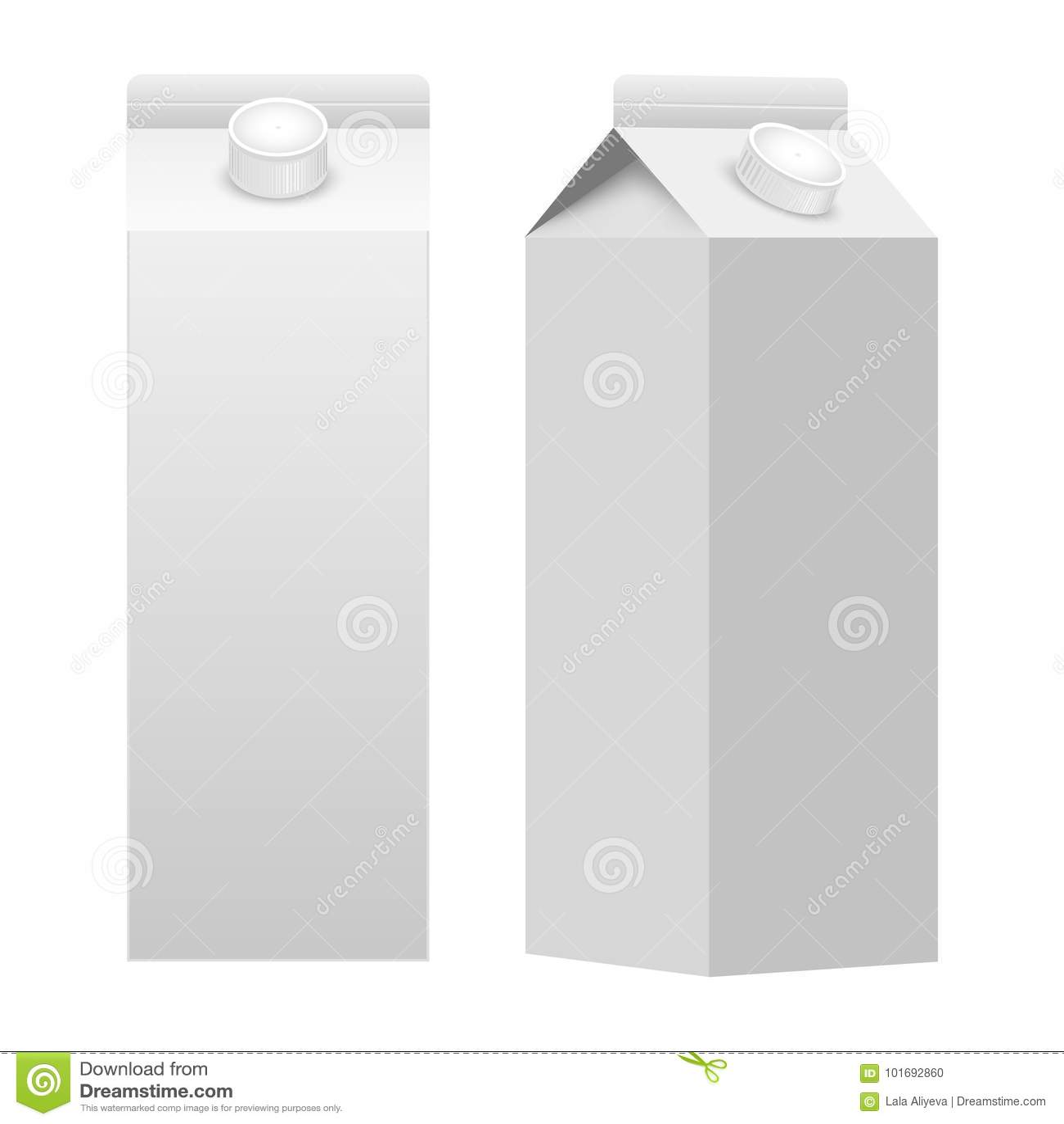 Blanc blanc de boîte de paquet d emballage de carton de lait ou de jus d isolement Vecteur