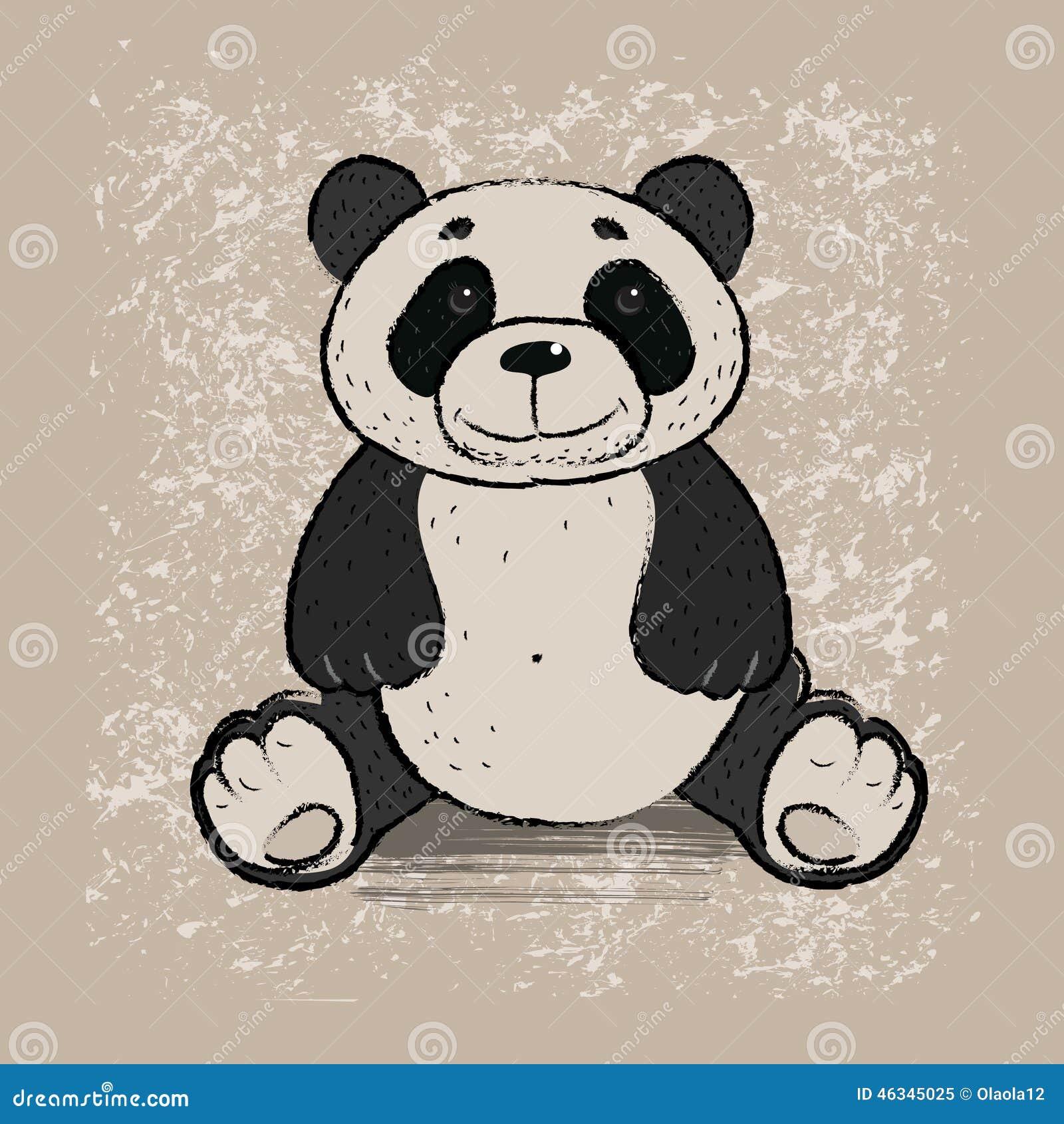 Blanc de type de panda d illustration de dessin animé d ours de fond