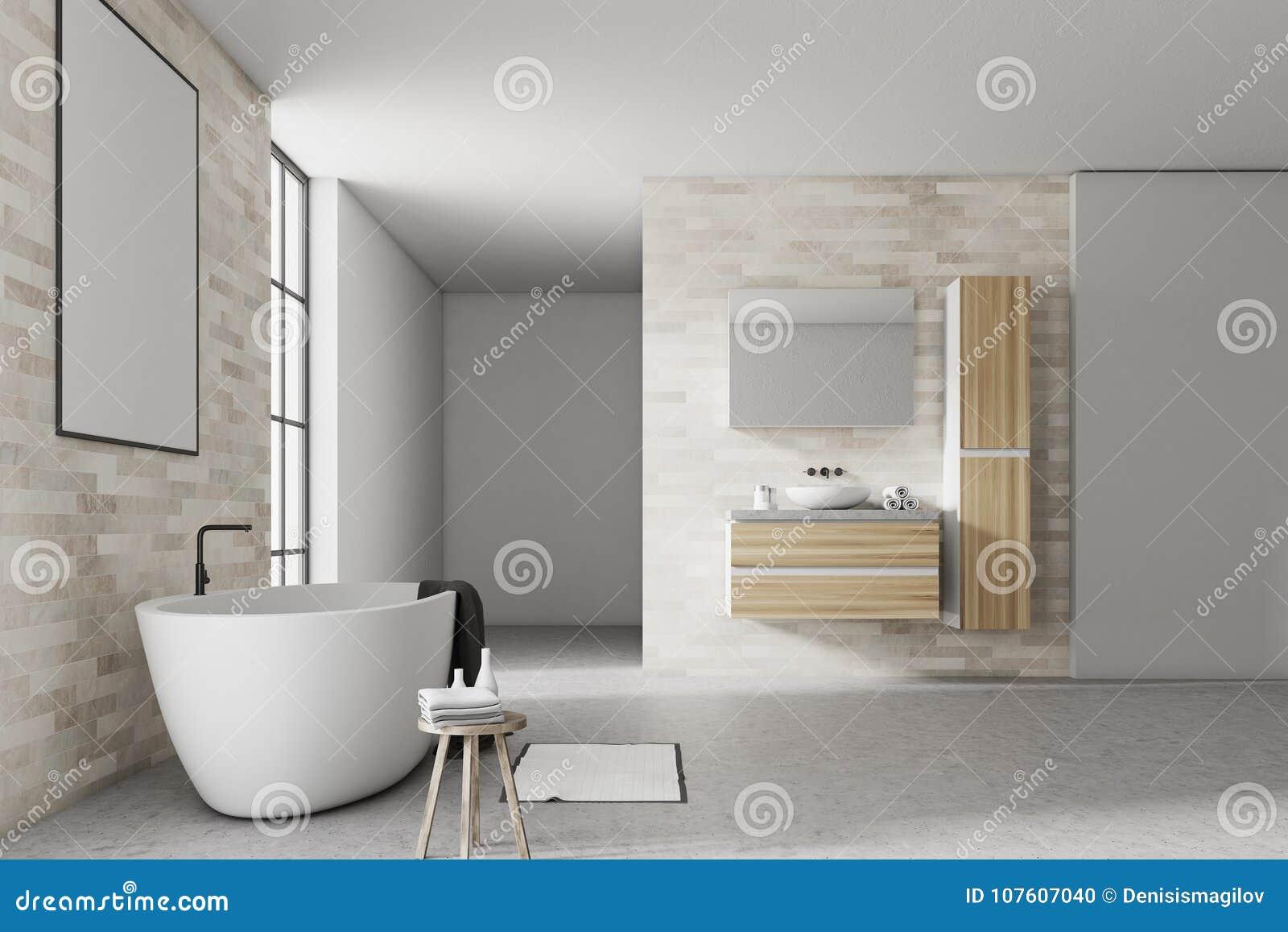 Blanc et affiche d intérieur de salle de bains de brique