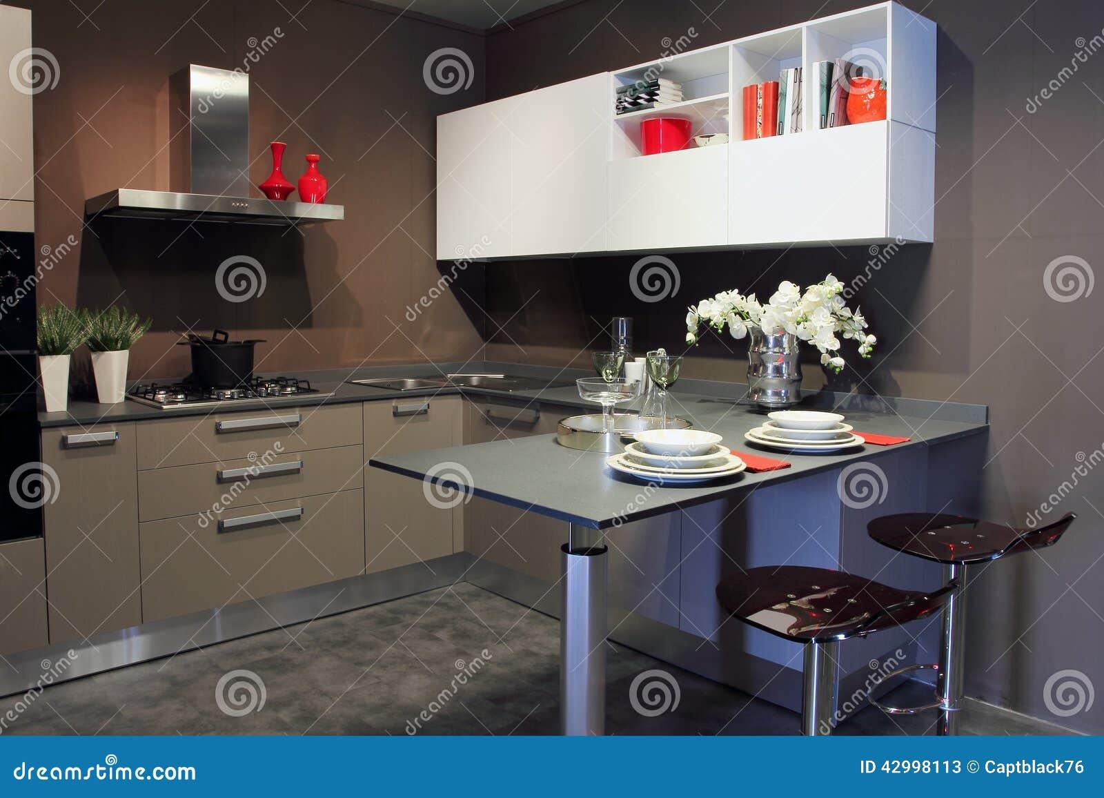 Blanc et gris modernes l gants de cuisine photo stock for Cuisine moderne gris et blanc