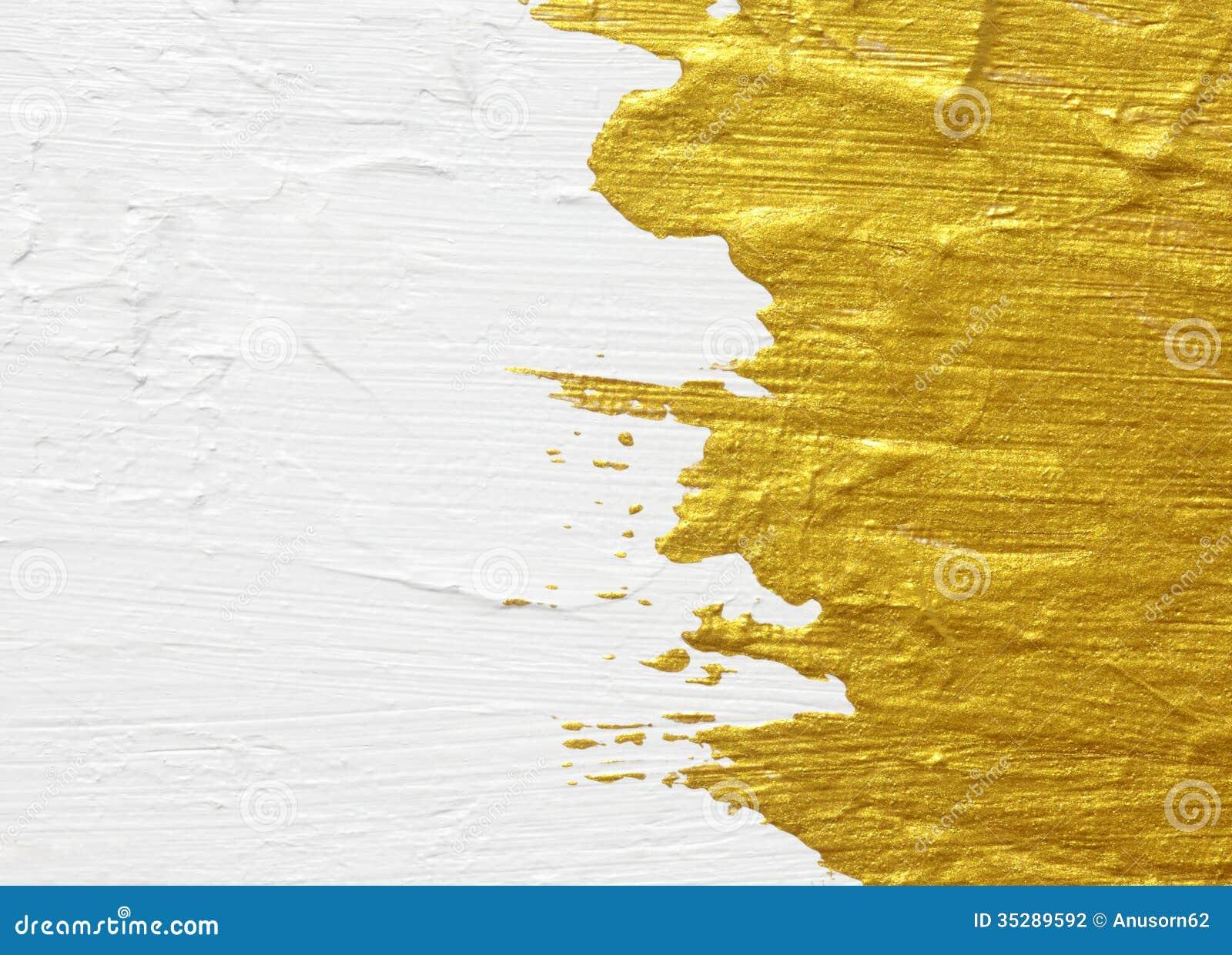 Blanc et peinture texturisée acrylique d or