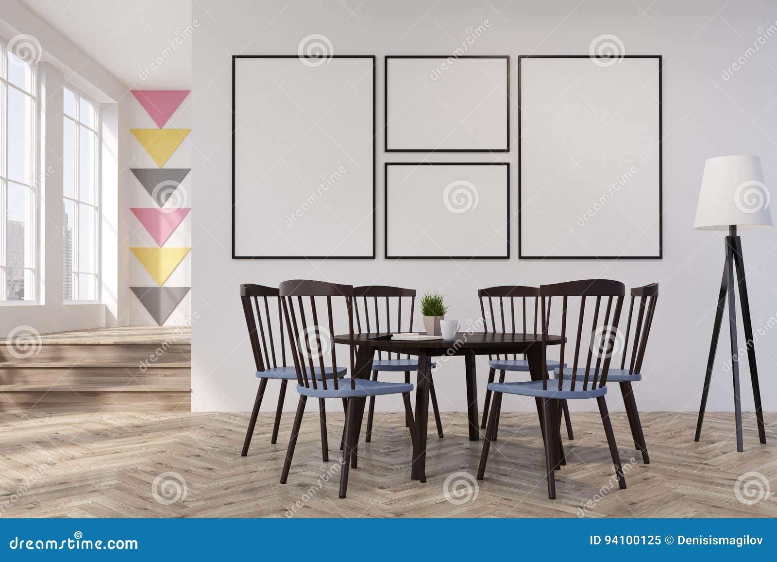 Blanc et salle à manger ou bureau de triangle rond illustration