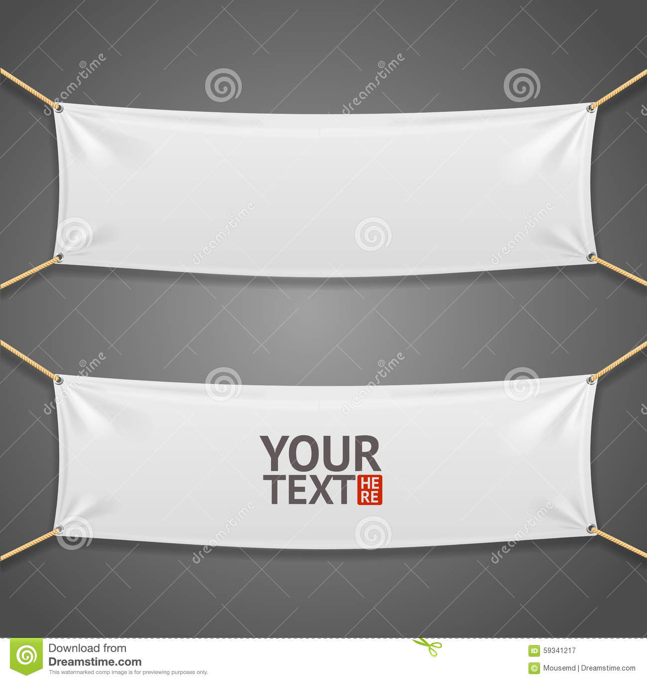blanc fabric rectangular banner with ropes  vector stock vector