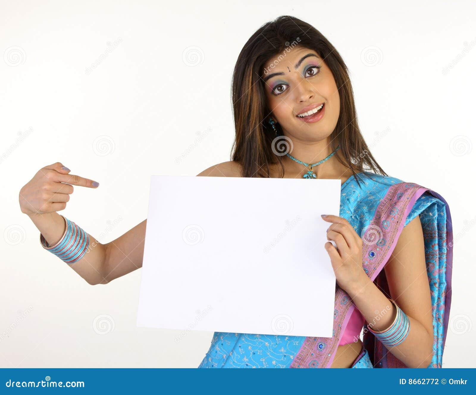 Blanc mince de sari de plaquette de fixation de fille