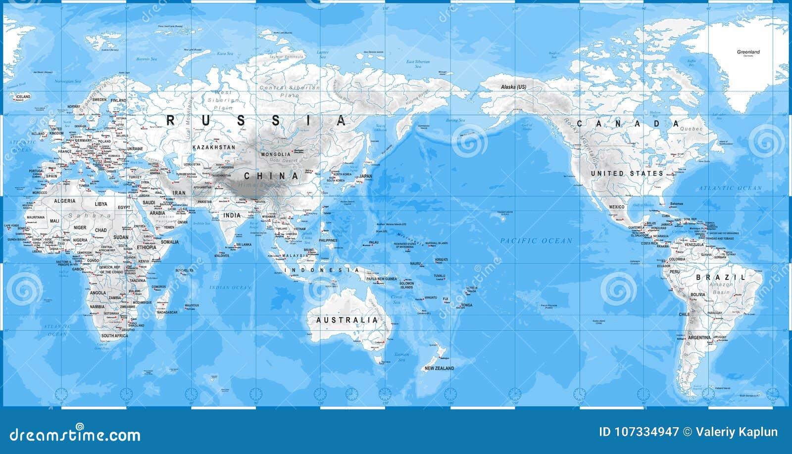 Carte Du Monde Chine Japon.Blanc Physique De Carte Du Monde Asie Au Centre La Chine