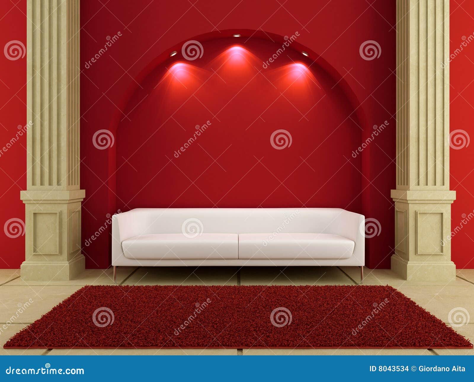 Blanc rouge de pièce d intérieurs du divan 3d
