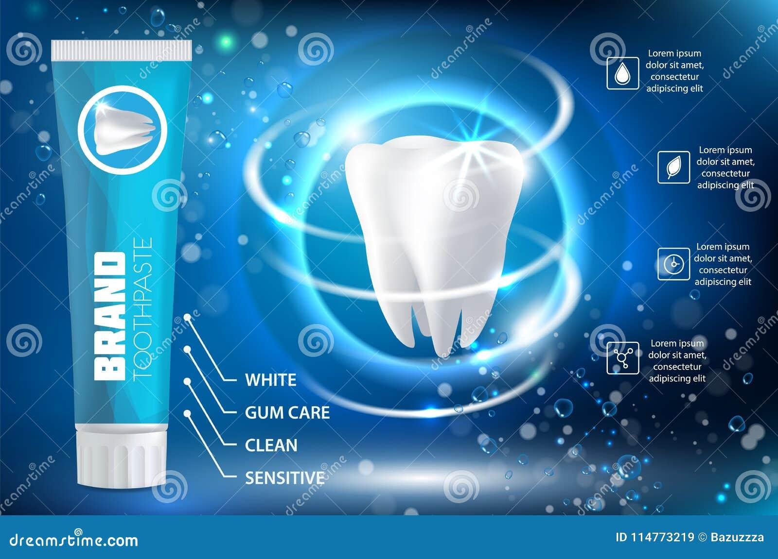 Blanchiment de l illustration réaliste de vecteur d annonce de pâte dentifrice