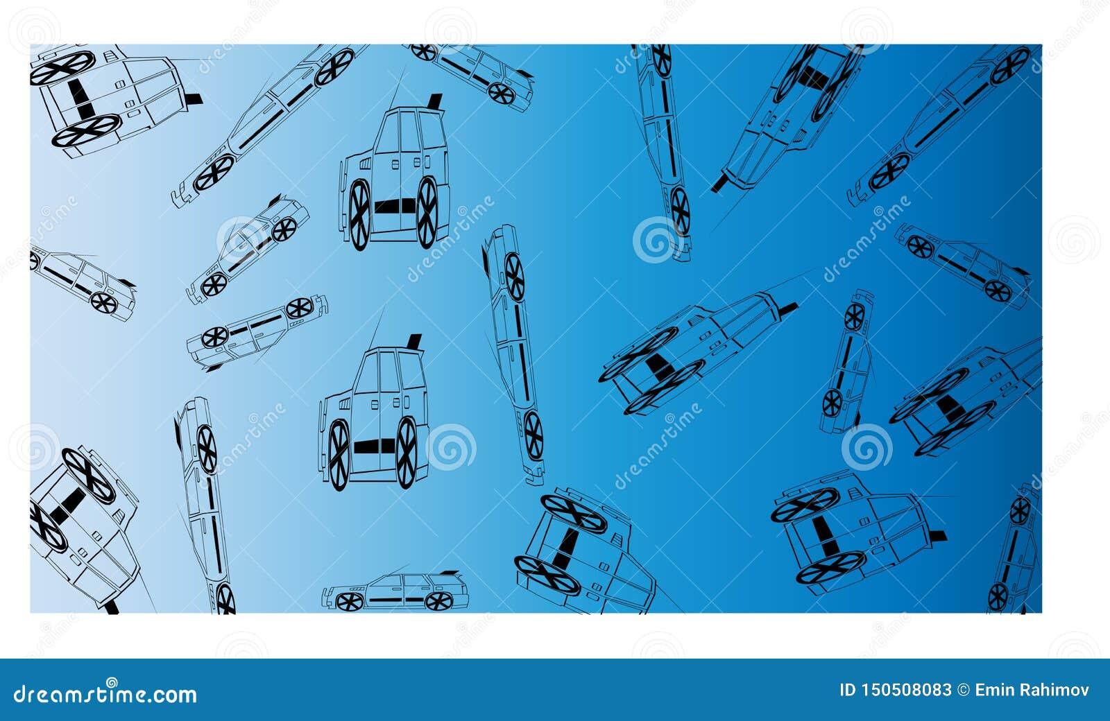 Blanco al fondo azul con muchos de los coches del camino - ejemplo del vector