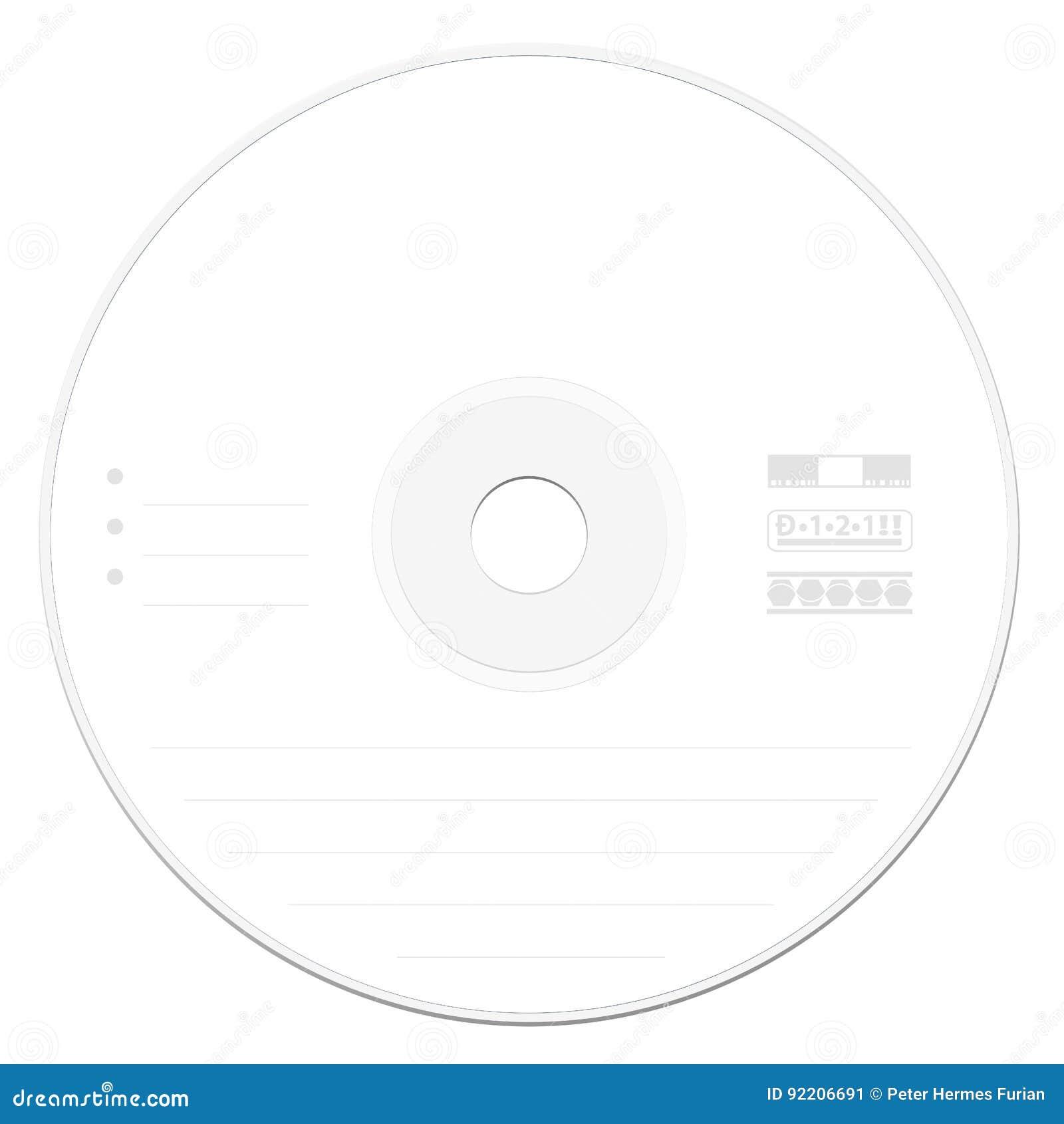 Blanco CD De La Plantilla De La Etiqueta Ilustración del Vector ...