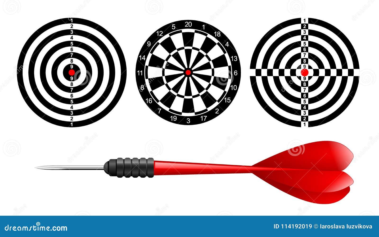 Blanco clásica del tablero de dardo fijada y flecha roja de los dardos aislada en el fondo blanco Ilustración del vector Diana bl
