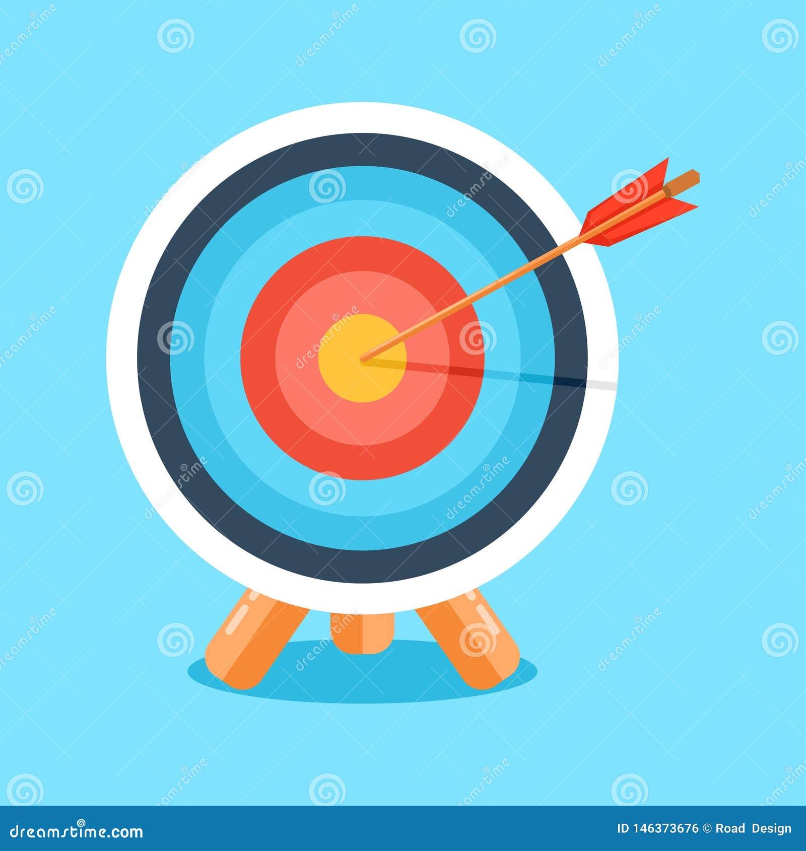 Blanco con la flecha, icono del negocio Ilustraci?n del vector