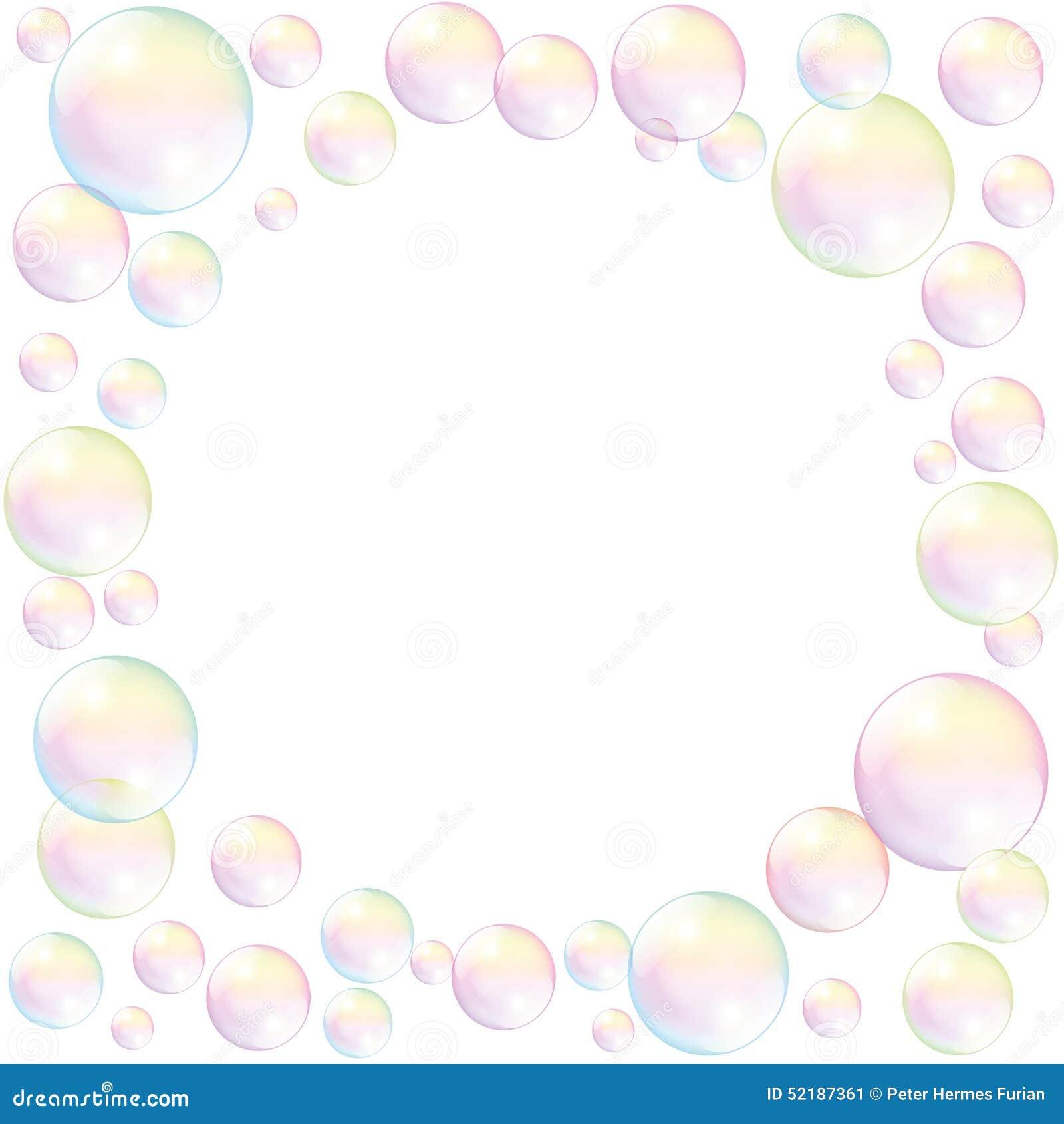 Blanco Del Fondo Del Marco De Las Burbujas De Jabón Ilustración del ...