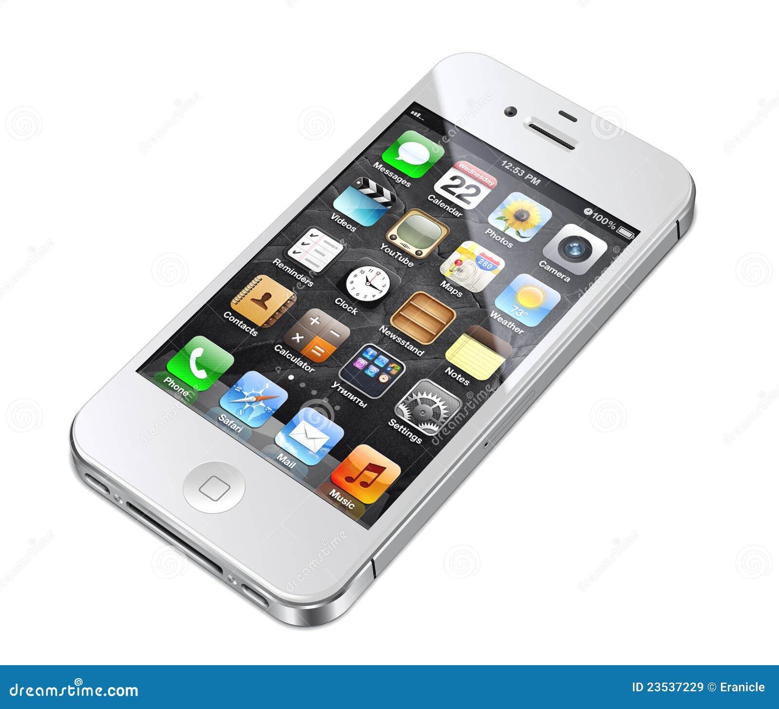 1aa1172eeda Teléfono celular blanco del iphone 4S de Apple con la ilustración de los  iconos