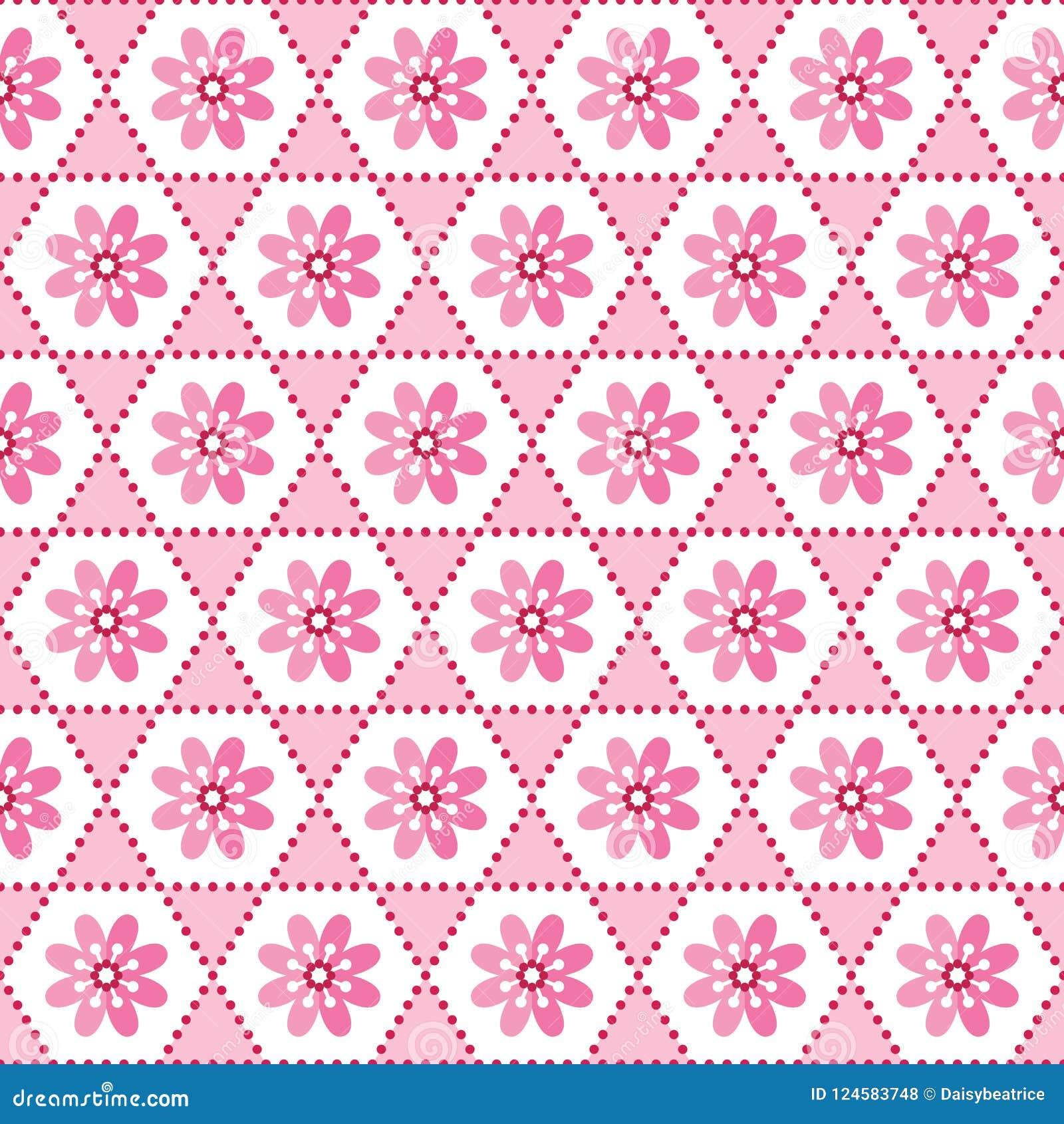Blanco floral geométrico inconsútil del rosa del modelo del fondo