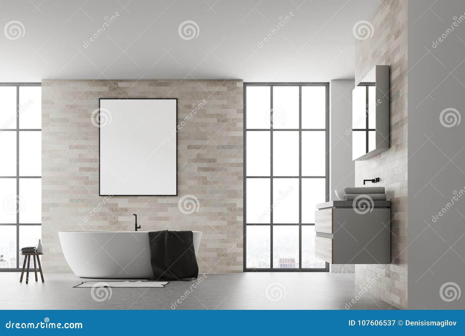 Blanco Interior Del Cartel Del Cuarto De Baño Moderno Stock de ...