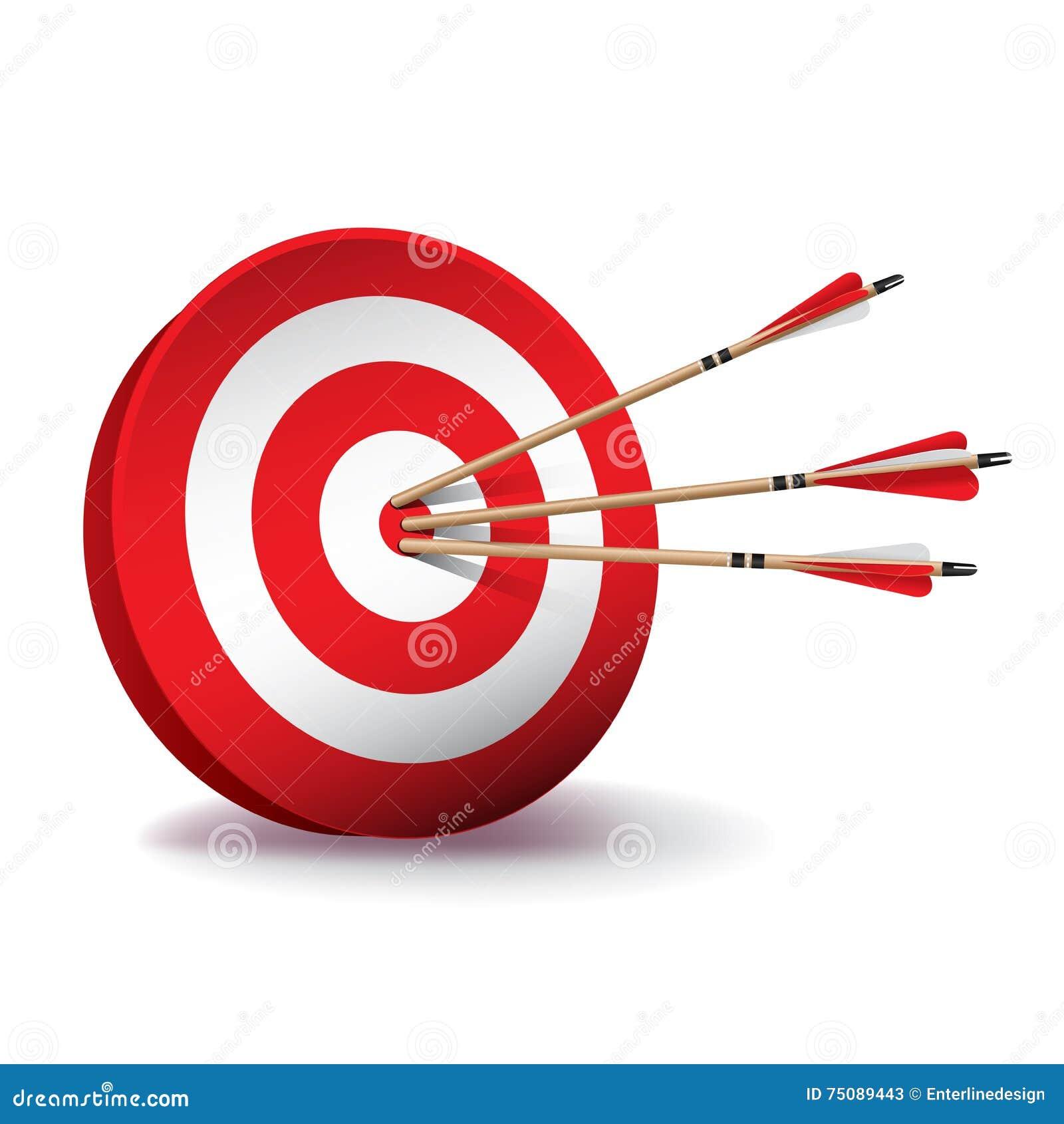 Blanco roja del tiro al arco con el ejemplo de las flechas - Diana de colores ...