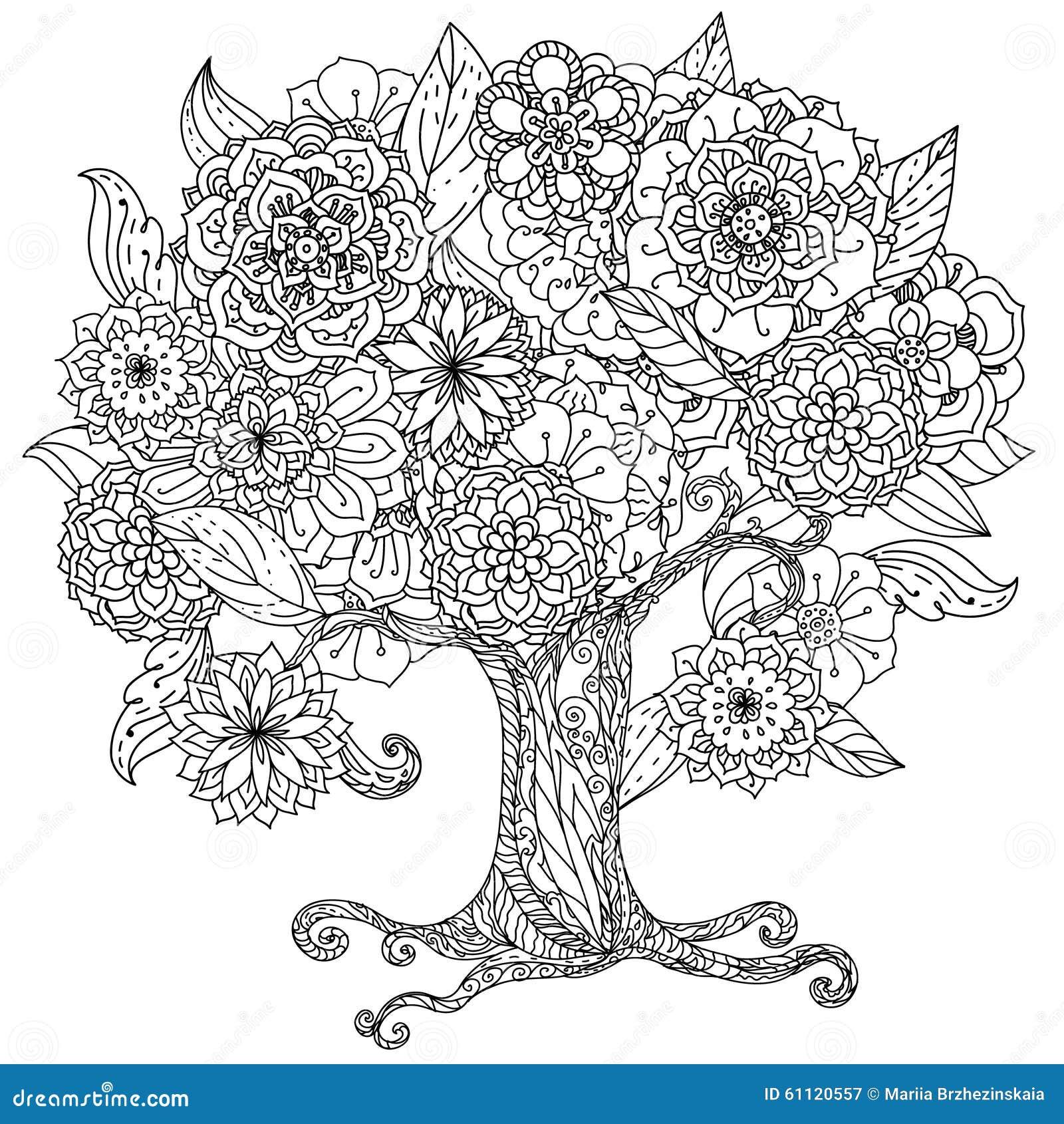 Blanco Y Negro Floral De Oriente Del C 237 Rculo Ilustraci 243 N