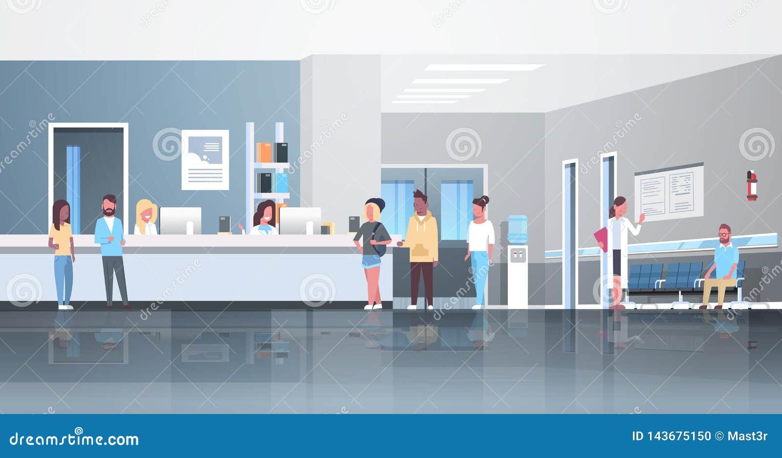 Blandninglopppatienter som står linjen kö på begreppet för sjukvård för konsultation för doktorer för korridor för sjukhusmottaga