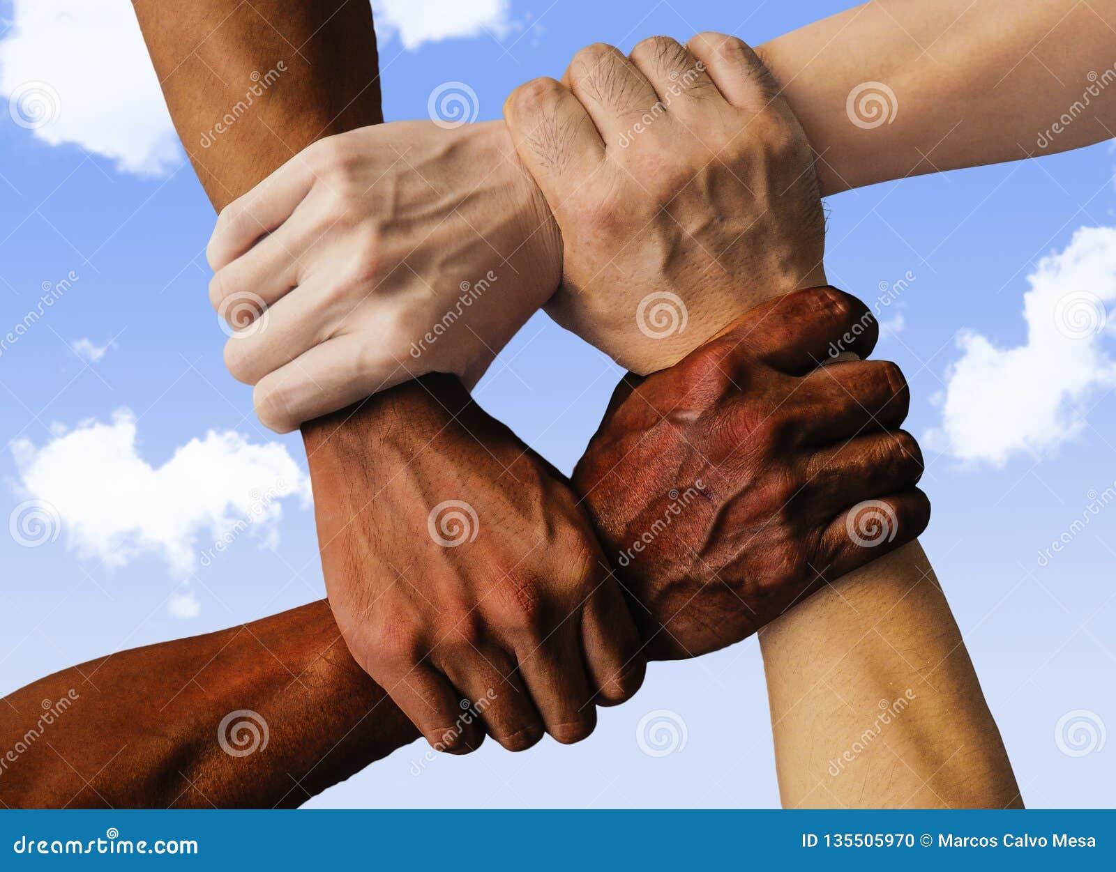 Blandras- grupp med den Caucasian svarta afrikanska amerikanen och asiatiska händer som rymmer sig handled i toleransenhetförälsk